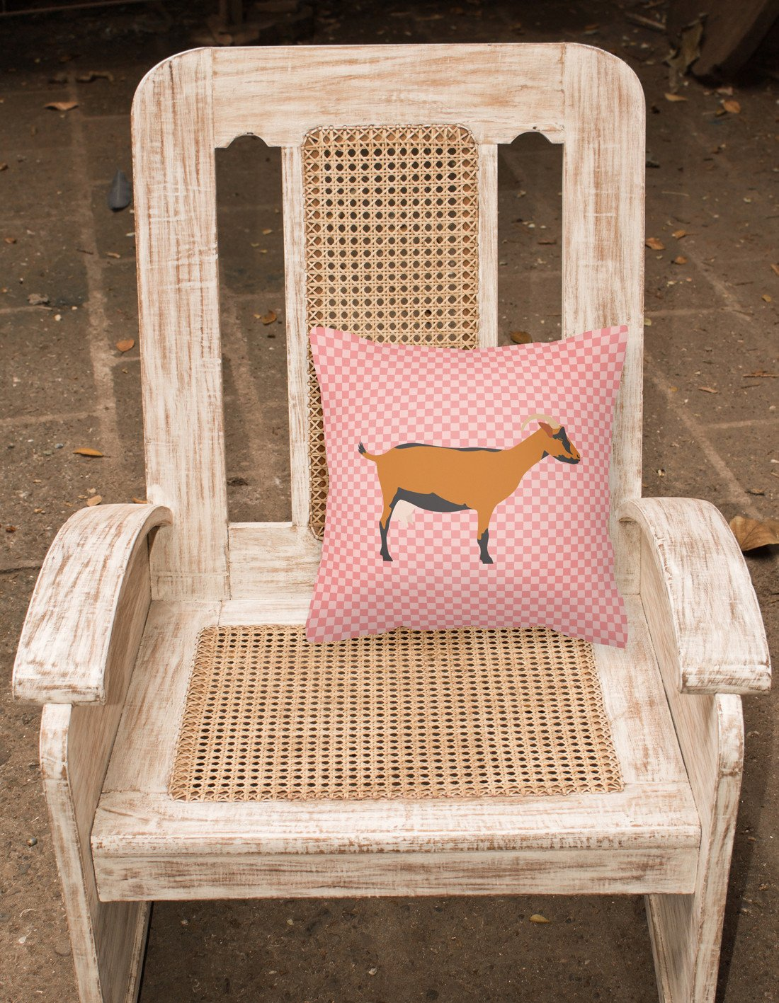 Oberhasli Goat Pink Check Fabric Decorative Pillow BB7888PW1818 by Caroline's Treasures