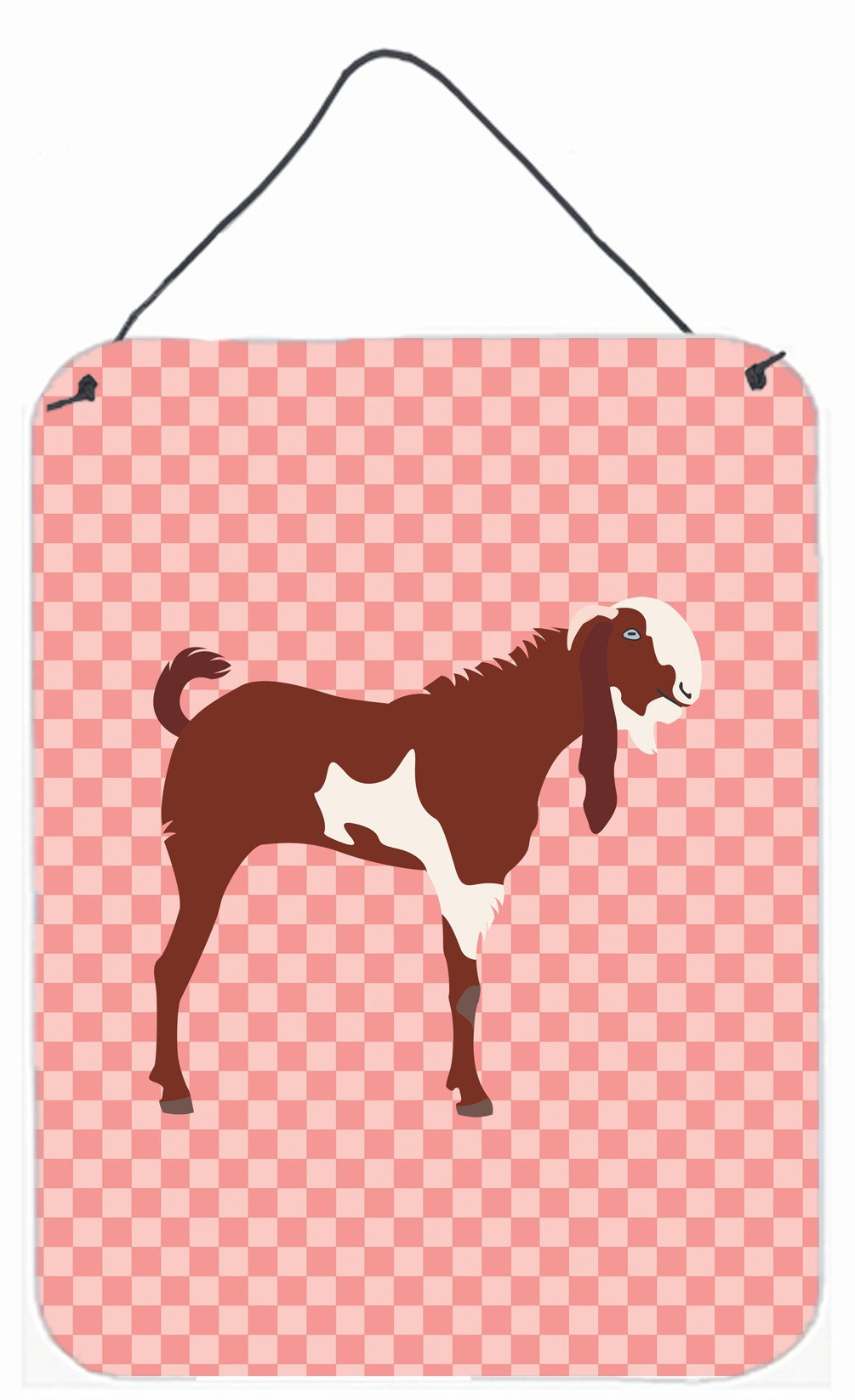 Jamnapari Goat Pink Check Wall or Door Hanging Prints BB7890DS1216 by Caroline's Treasures