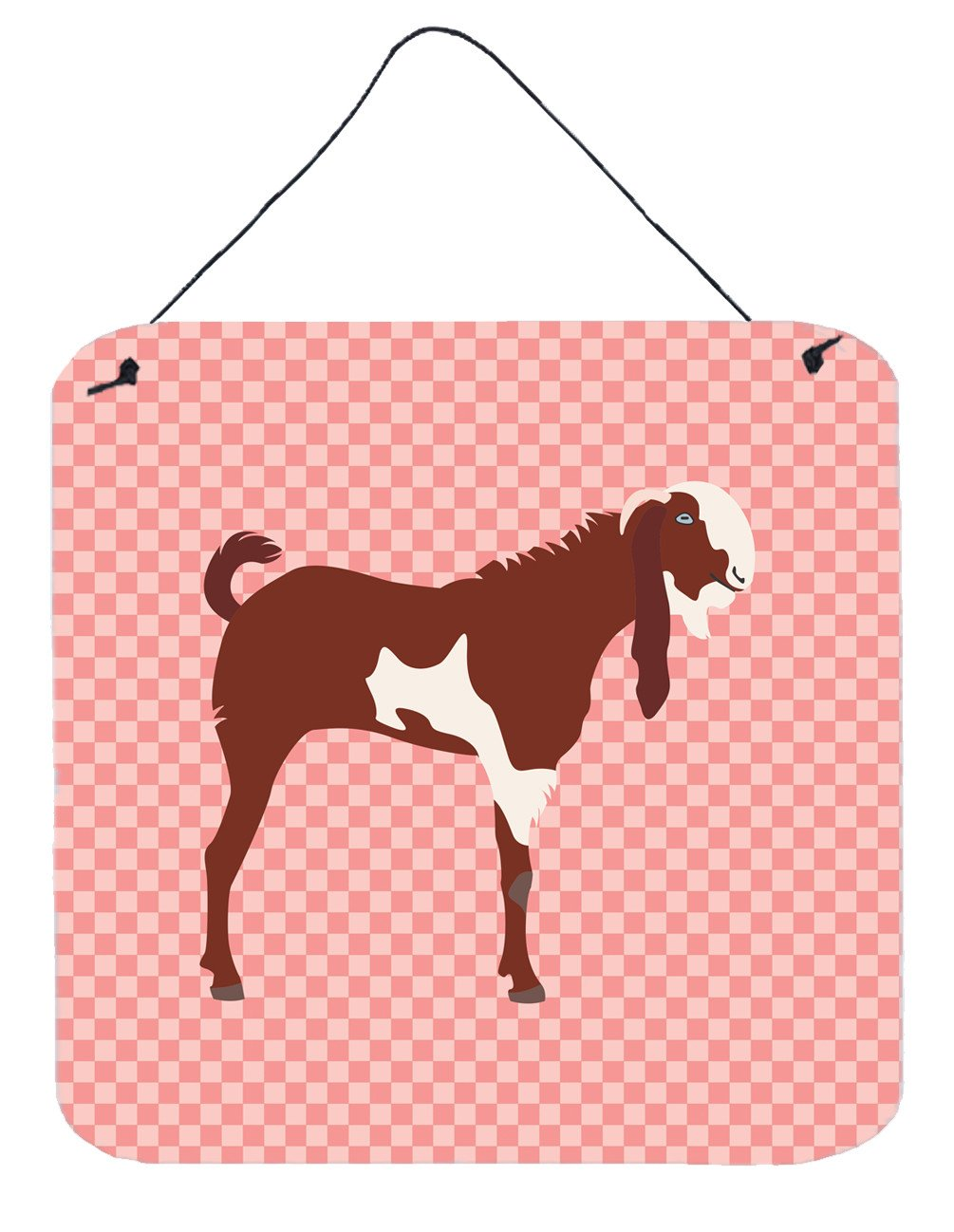 Jamnapari Goat Pink Check Wall or Door Hanging Prints BB7890DS66 by Caroline's Treasures