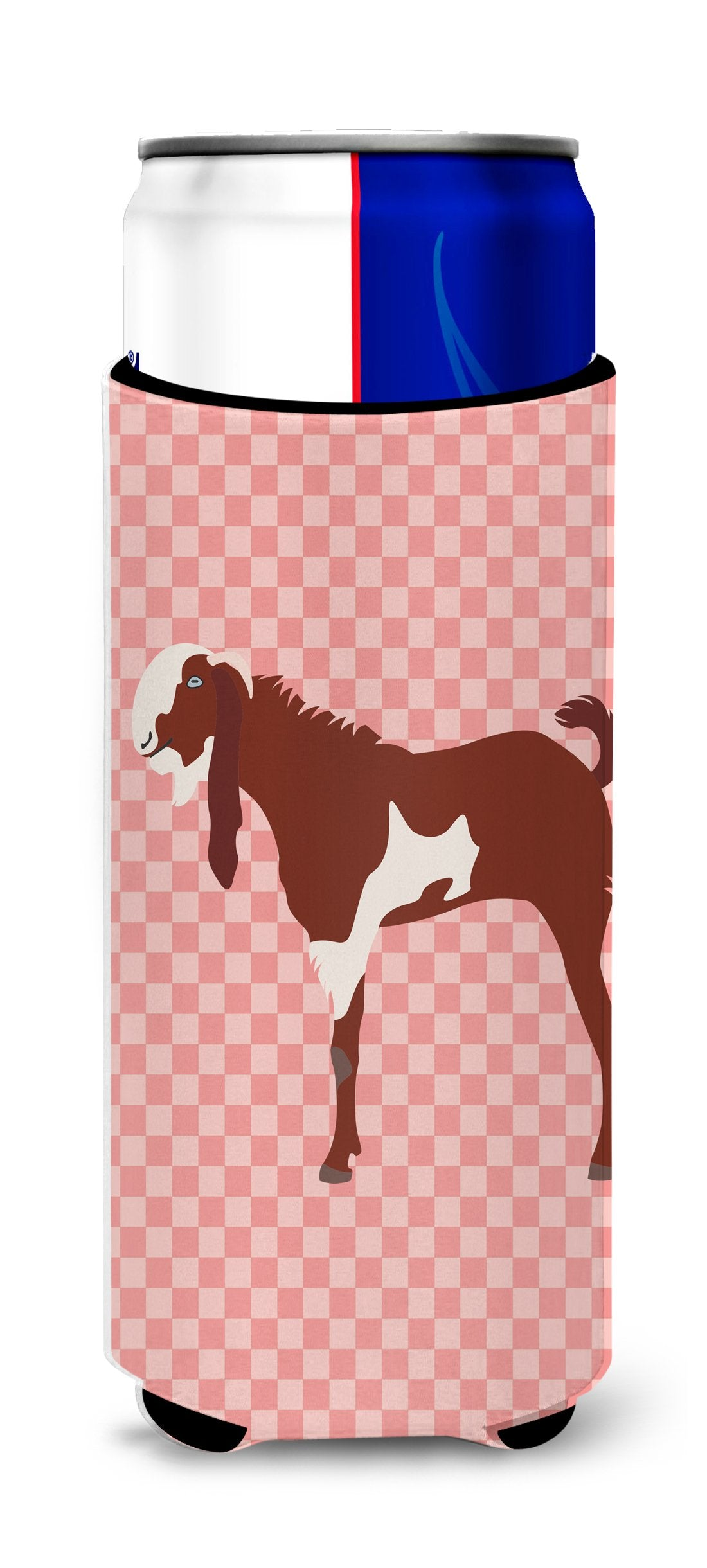 Jamnapari Goat Pink Check Michelob Ultra Hugger for slim cans by Caroline's Treasures