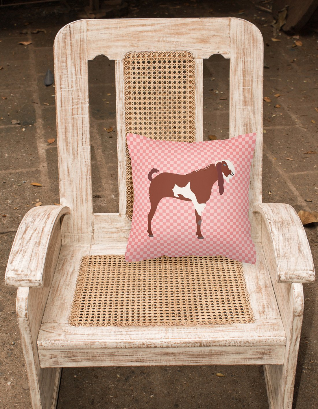 Jamnapari Goat Pink Check Fabric Decorative Pillow BB7890PW1818 by Caroline's Treasures