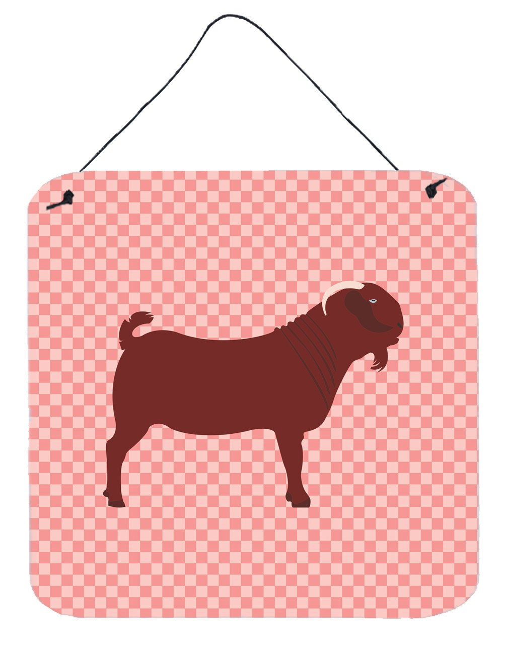 Kalahari Red Goat Pink Check Wall or Door Hanging Prints BB7891DS66 by Caroline's Treasures