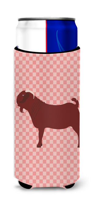 Buy this Kalahari Red Goat Pink Check Michelob Ultra Hugger for slim cans