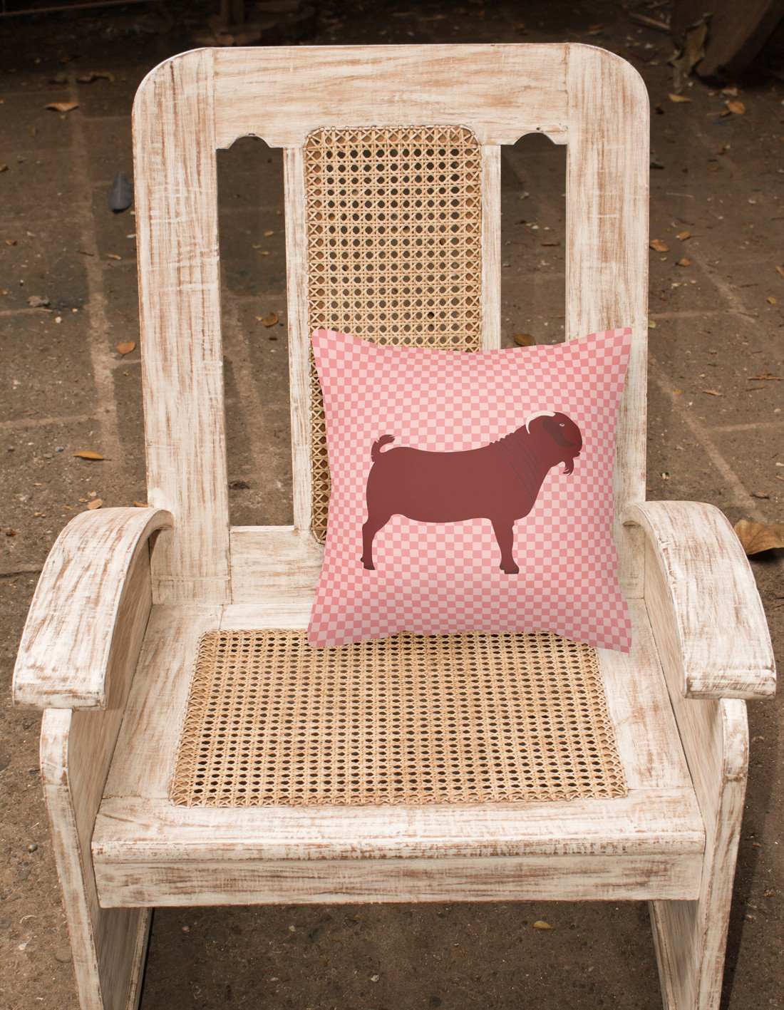 Kalahari Red Goat Pink Check Fabric Decorative Pillow BB7891PW1818 by Caroline's Treasures