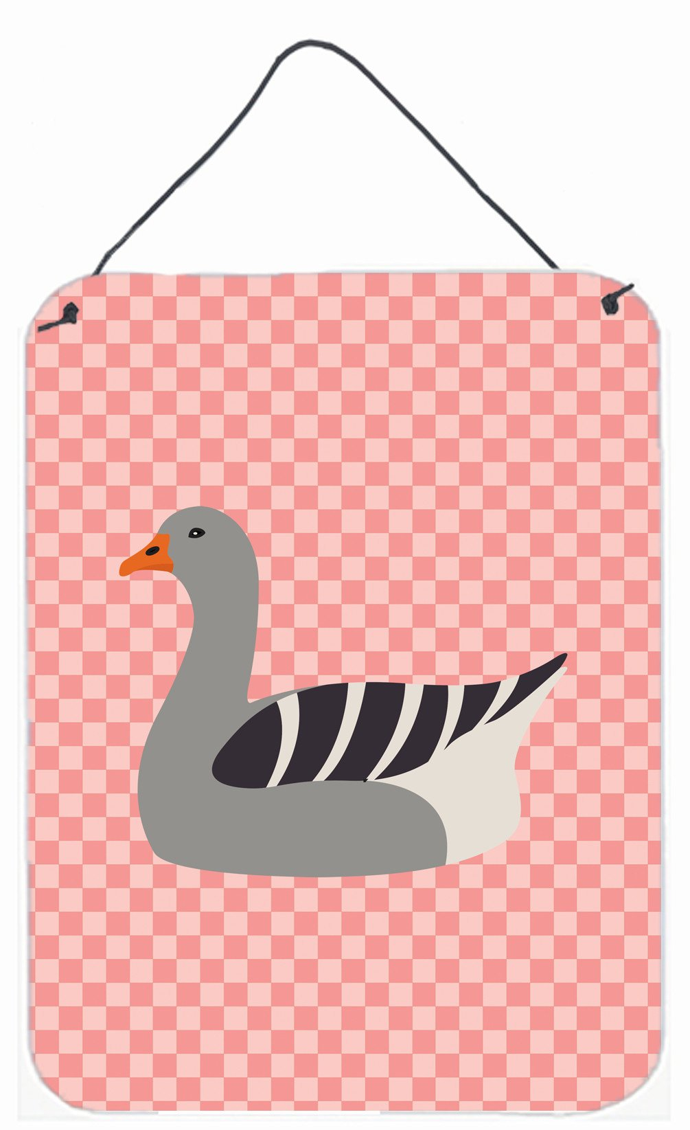 Pilgrim Goose Pink Check Wall or Door Hanging Prints BB7893DS1216 by Caroline's Treasures