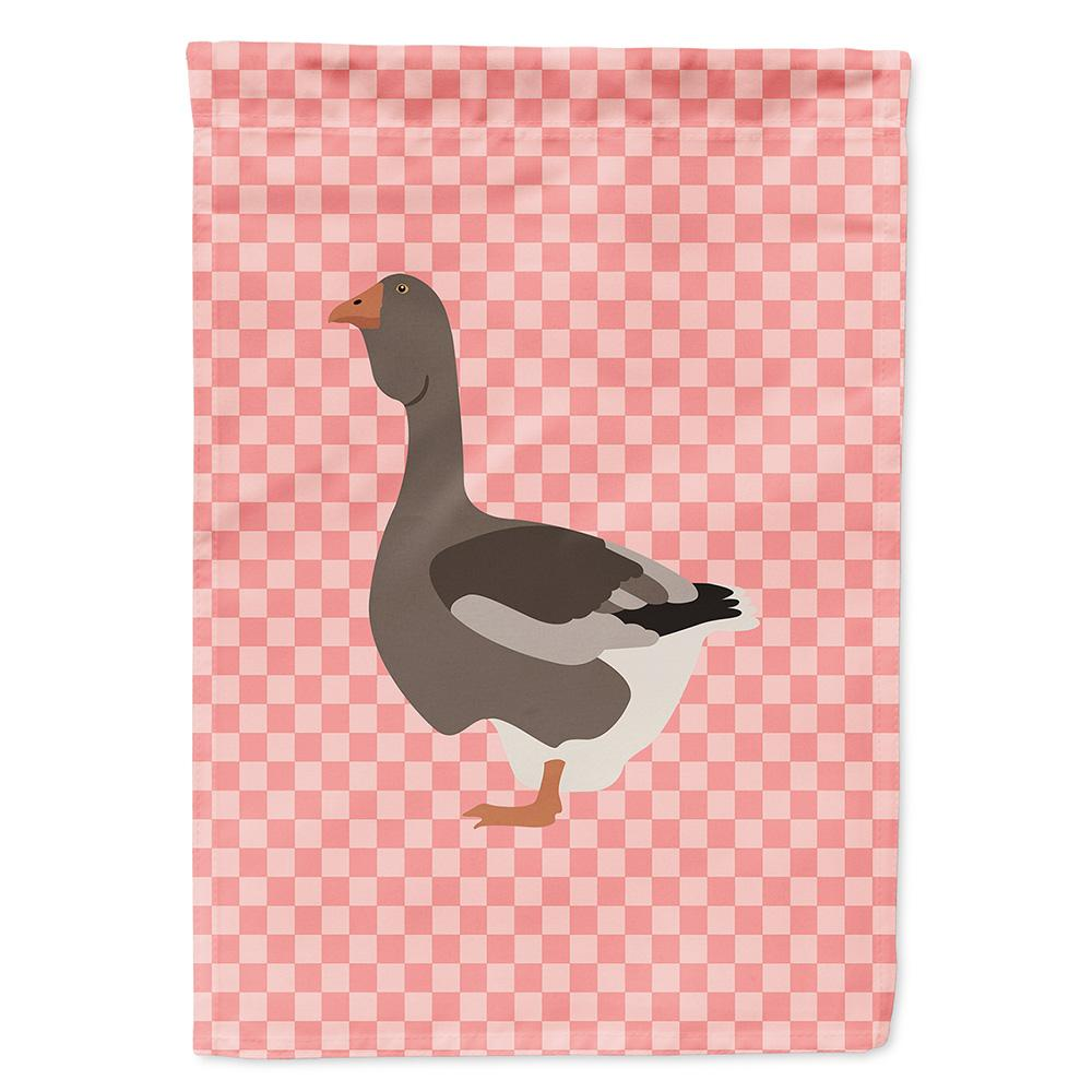 Toulouse Goose Pink Check Flag Garden Size by Caroline's Treasures