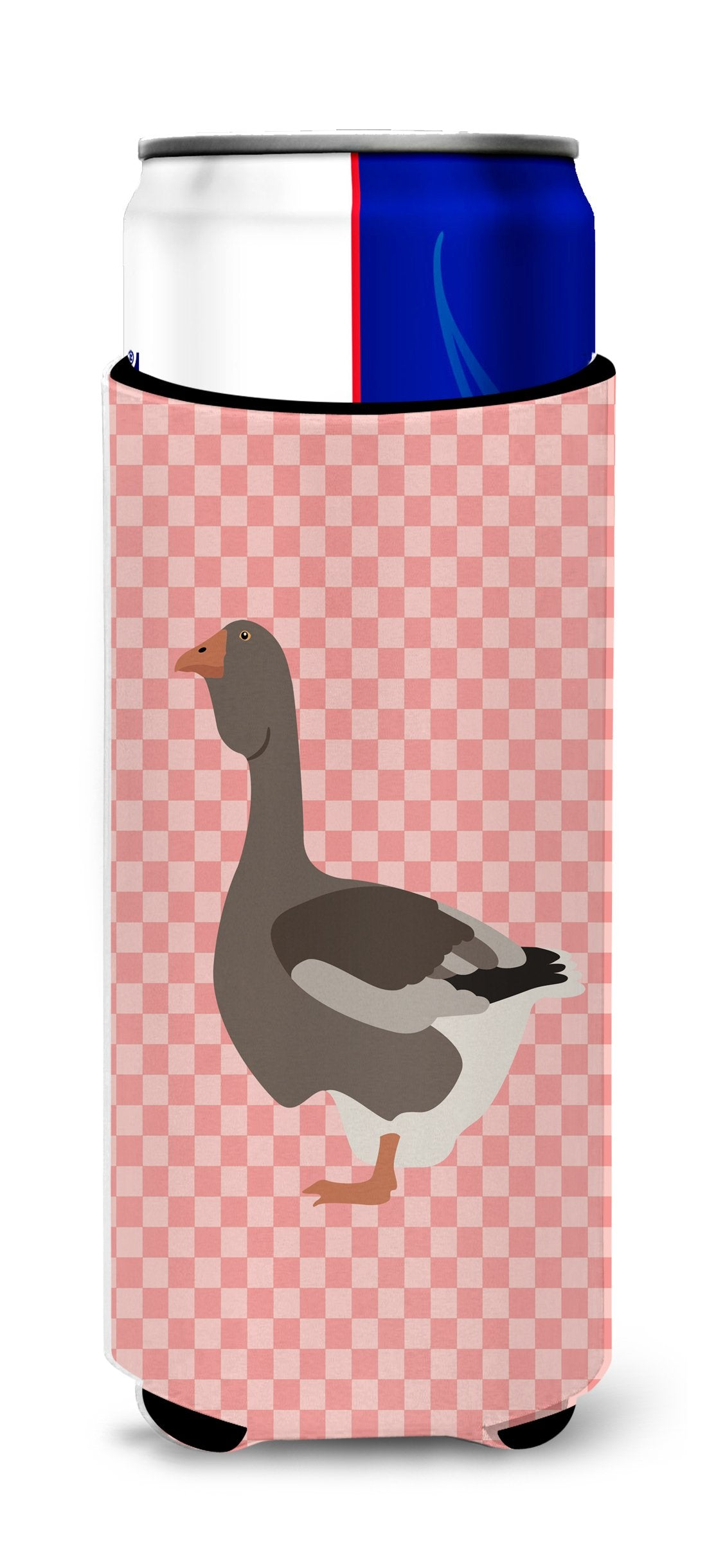 Toulouse Goose Pink Check Michelob Ultra Hugger for slim cans by Caroline's Treasures