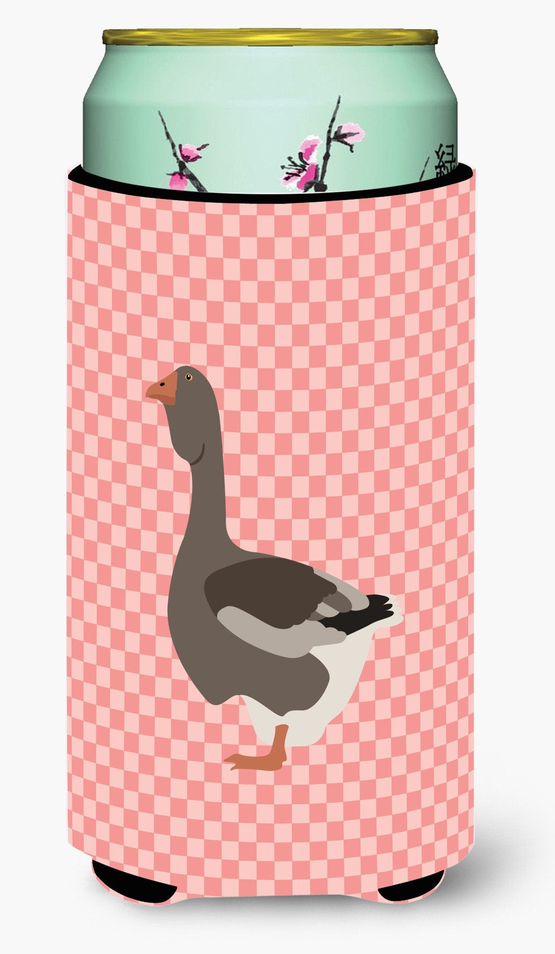 Toulouse Goose Pink Check Tall Boy Beverage Insulator Hugger BB7897TBC by Caroline's Treasures