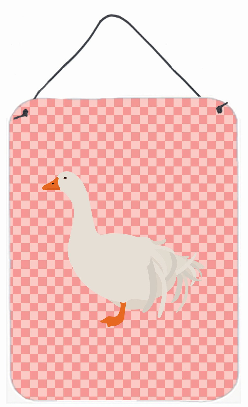 Sebastopol Goose Pink Check Wall or Door Hanging Prints BB7902DS1216 by Caroline's Treasures
