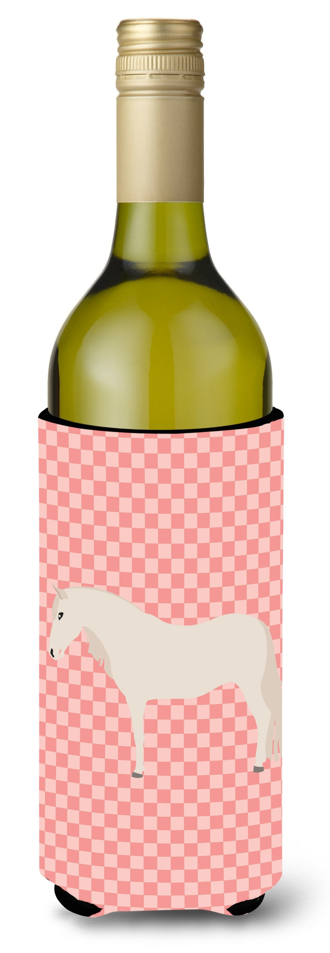 Paso Fino Horse Pink Check Wine Bottle Beverge Insulator Hugger BB7905LITERK by Caroline's Treasures
