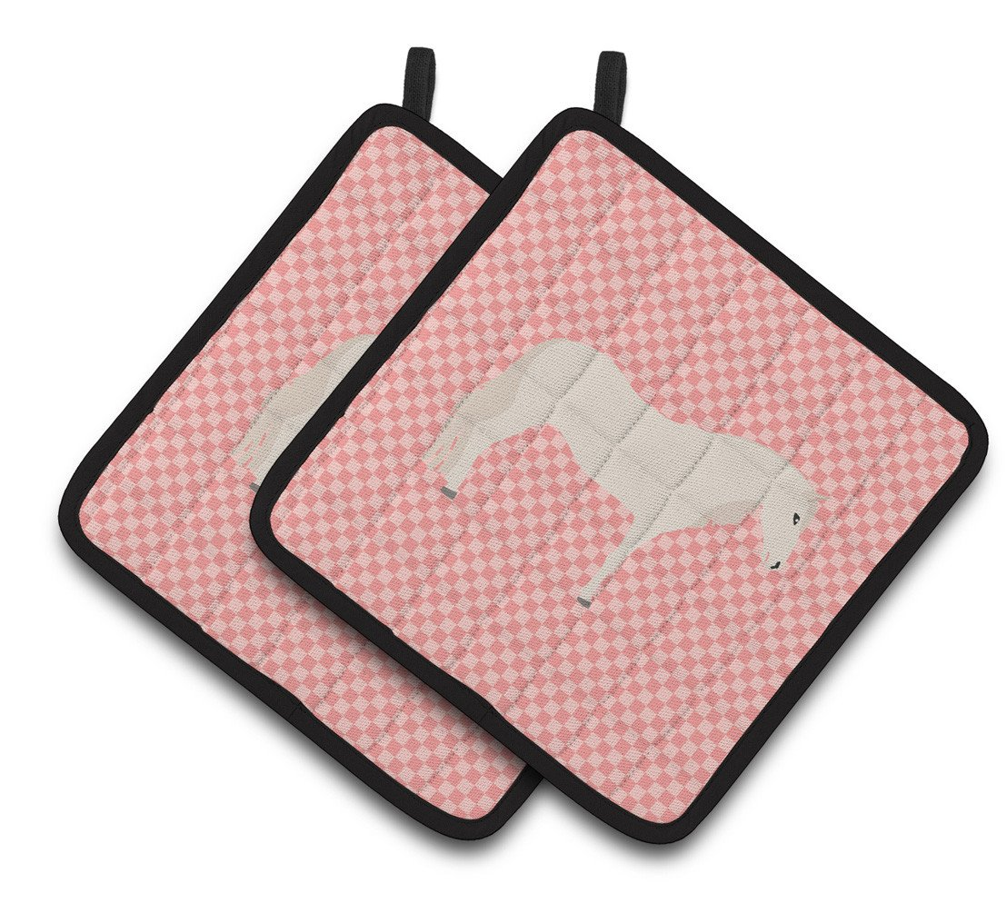 Paso Fino Horse Pink Check Pair of Pot Holders BB7905PTHD by Caroline's Treasures