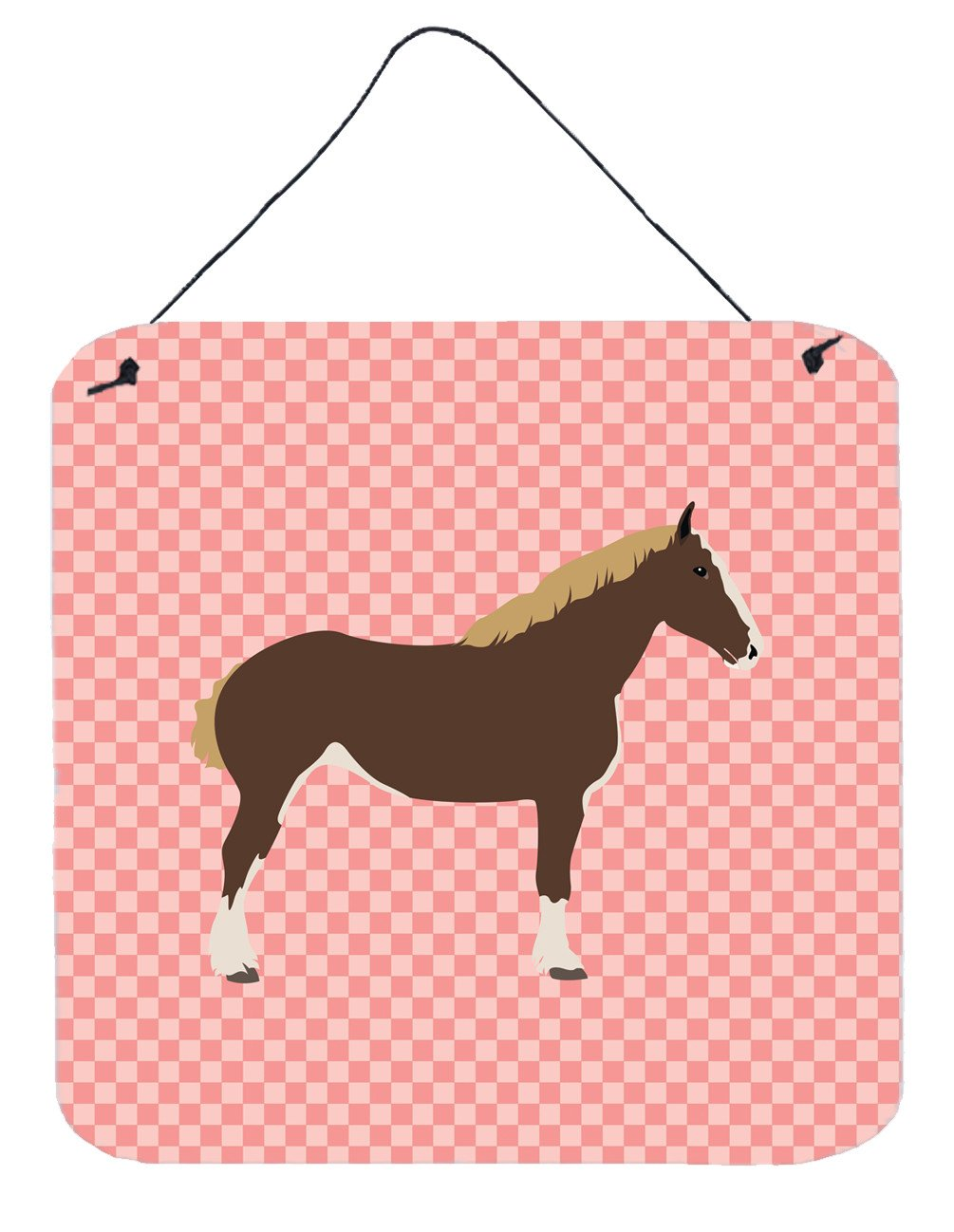 Percheron Horse Pink Check Wall or Door Hanging Prints BB7906DS66 by Caroline's Treasures