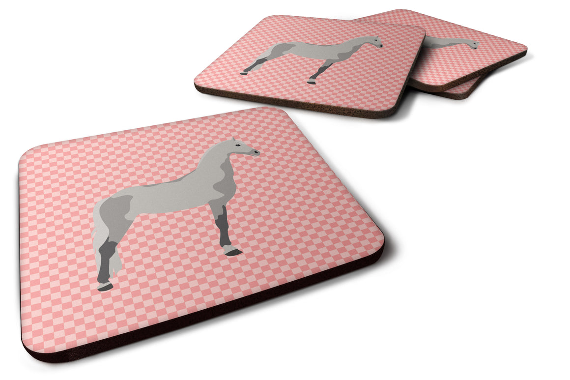 Buy this Orlov Trotter Horse Pink Check Foam Coaster Set of 4 BB7908FC