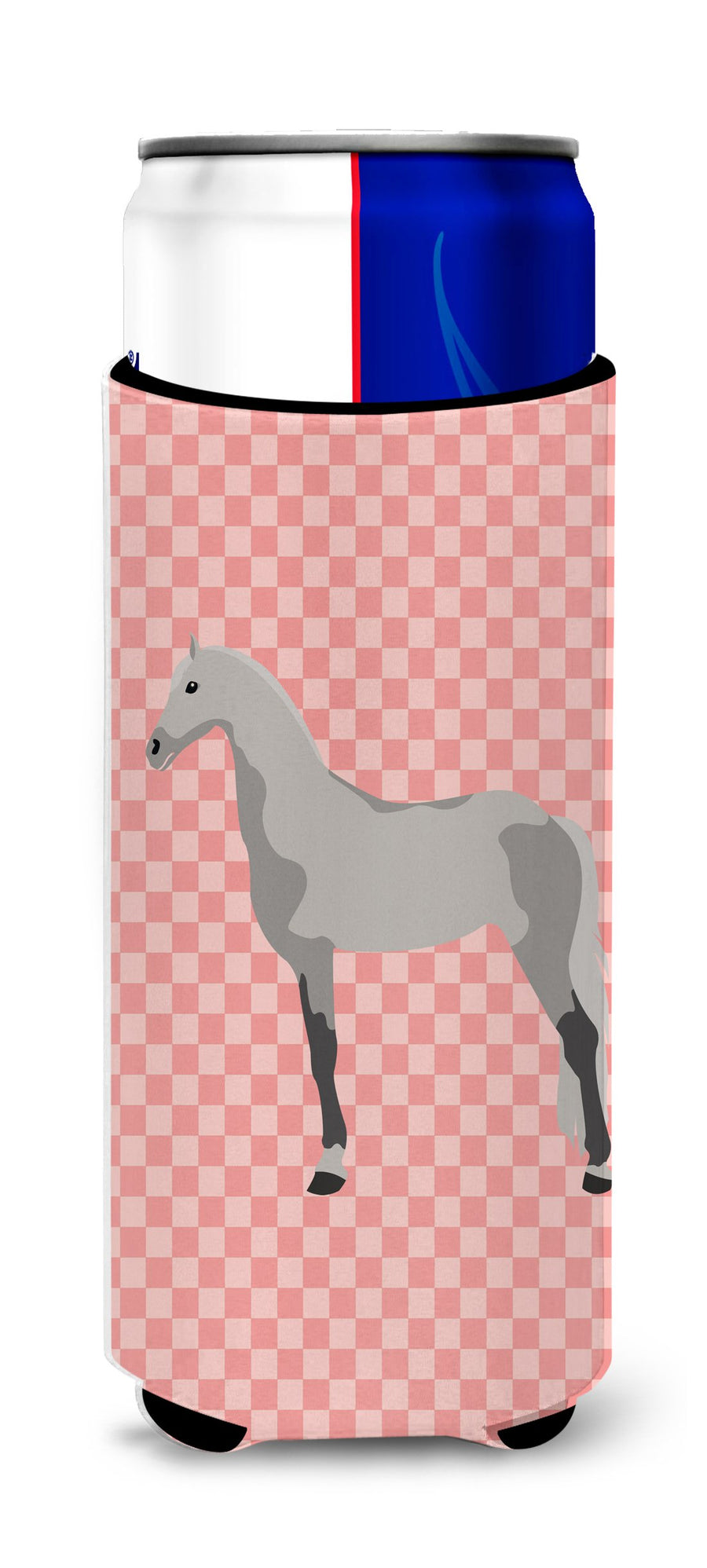 Buy this Orlov Trotter Horse Pink Check Michelob Ultra Hugger for slim cans