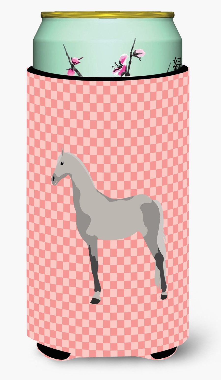 Buy this Orlov Trotter Horse Pink Check Tall Boy Beverage Insulator Hugger BB7908TBC
