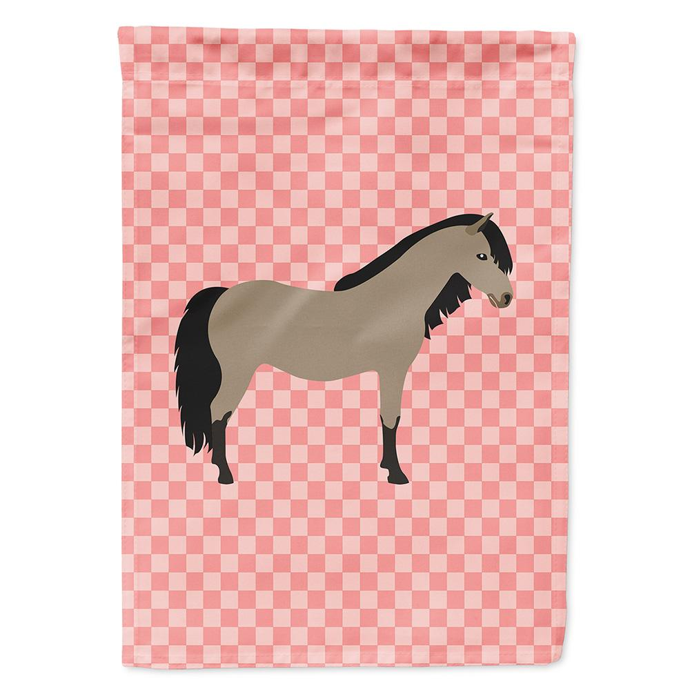 Welsh Pony Horse Pink Check Flag Garden Size by Caroline's Treasures