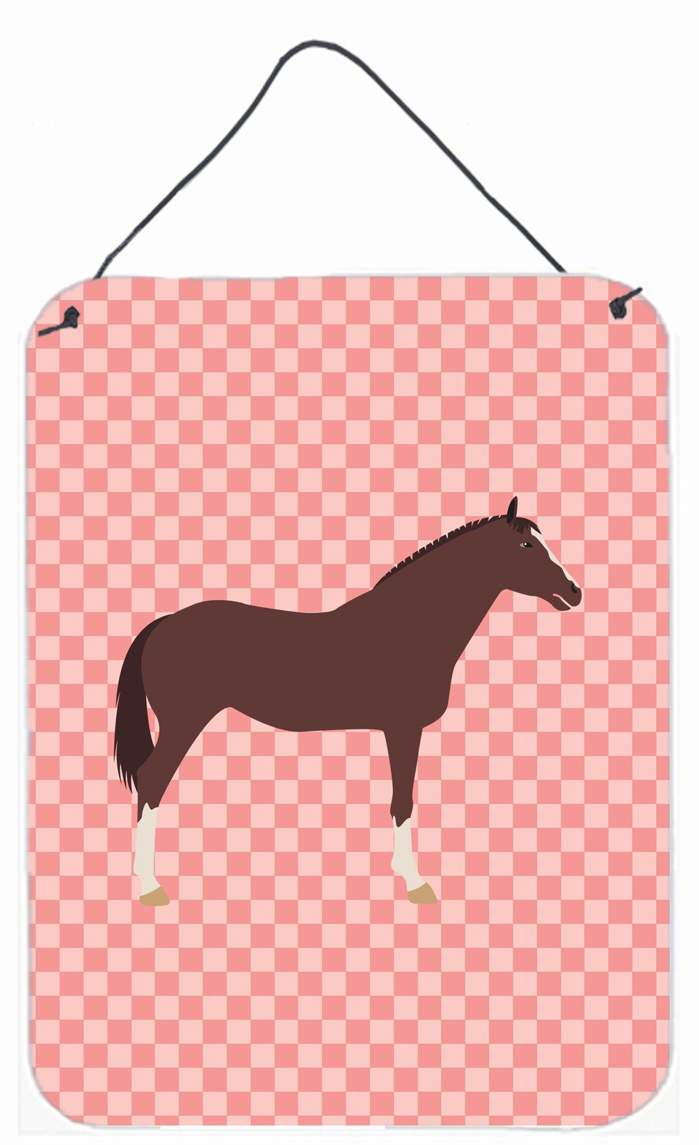 English Thoroughbred Horse Pink Check Wall or Door Hanging Prints BB7913DS1216 by Caroline's Treasures