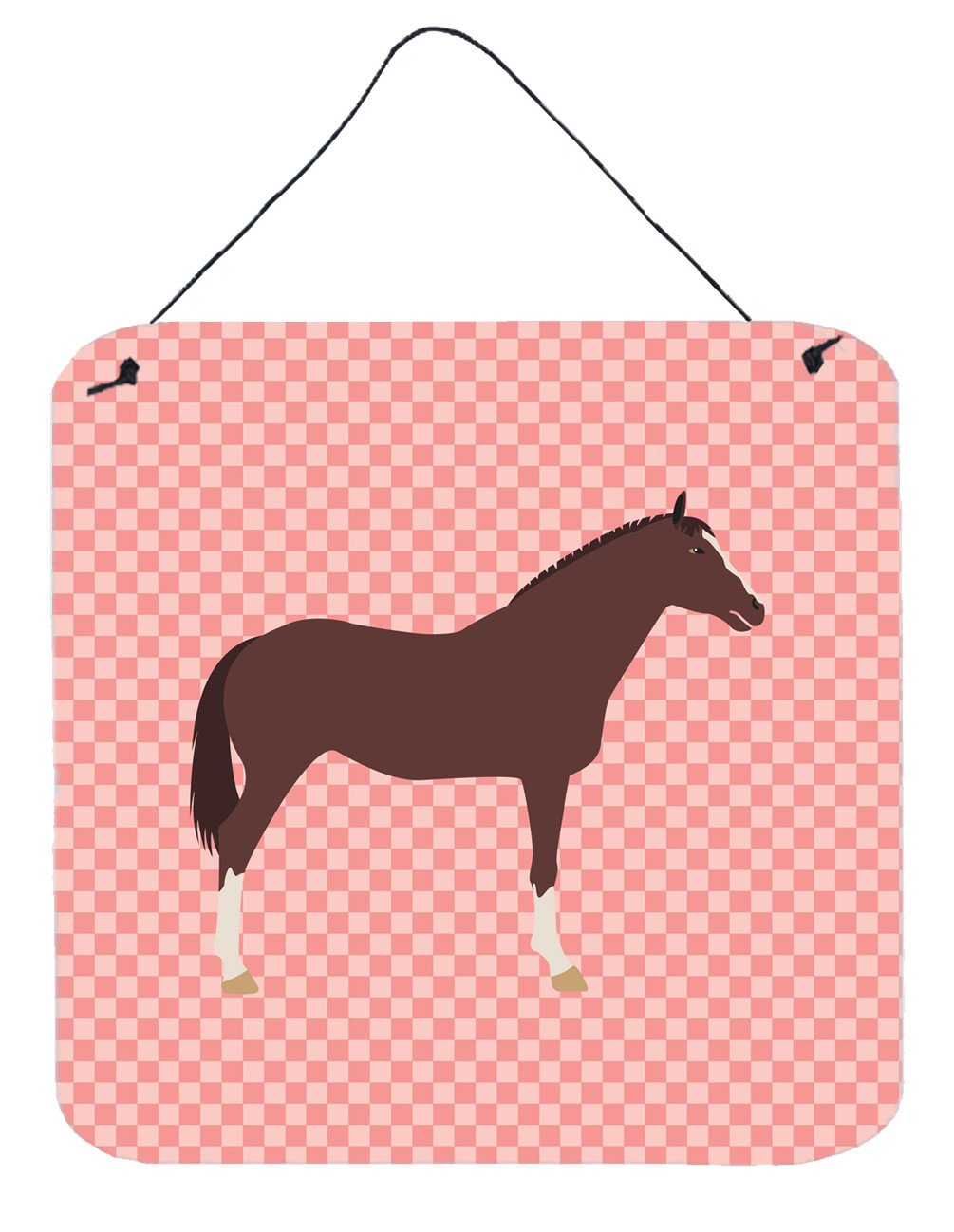 English Thoroughbred Horse Pink Check Wall or Door Hanging Prints BB7913DS66 by Caroline's Treasures