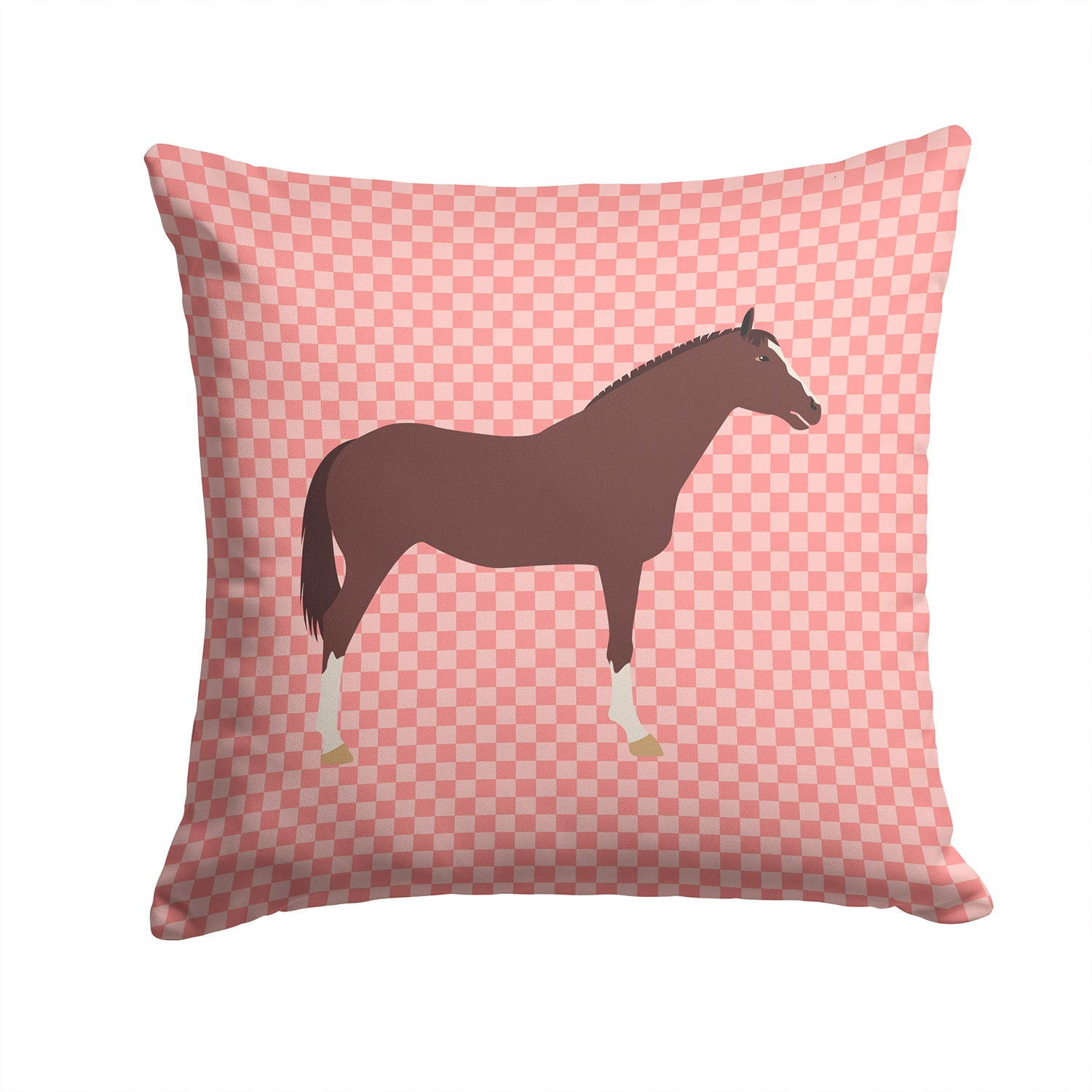 English Thoroughbred Horse Pink Check Fabric Decorative Pillow BB7913PW1414 by Caroline's Treasures