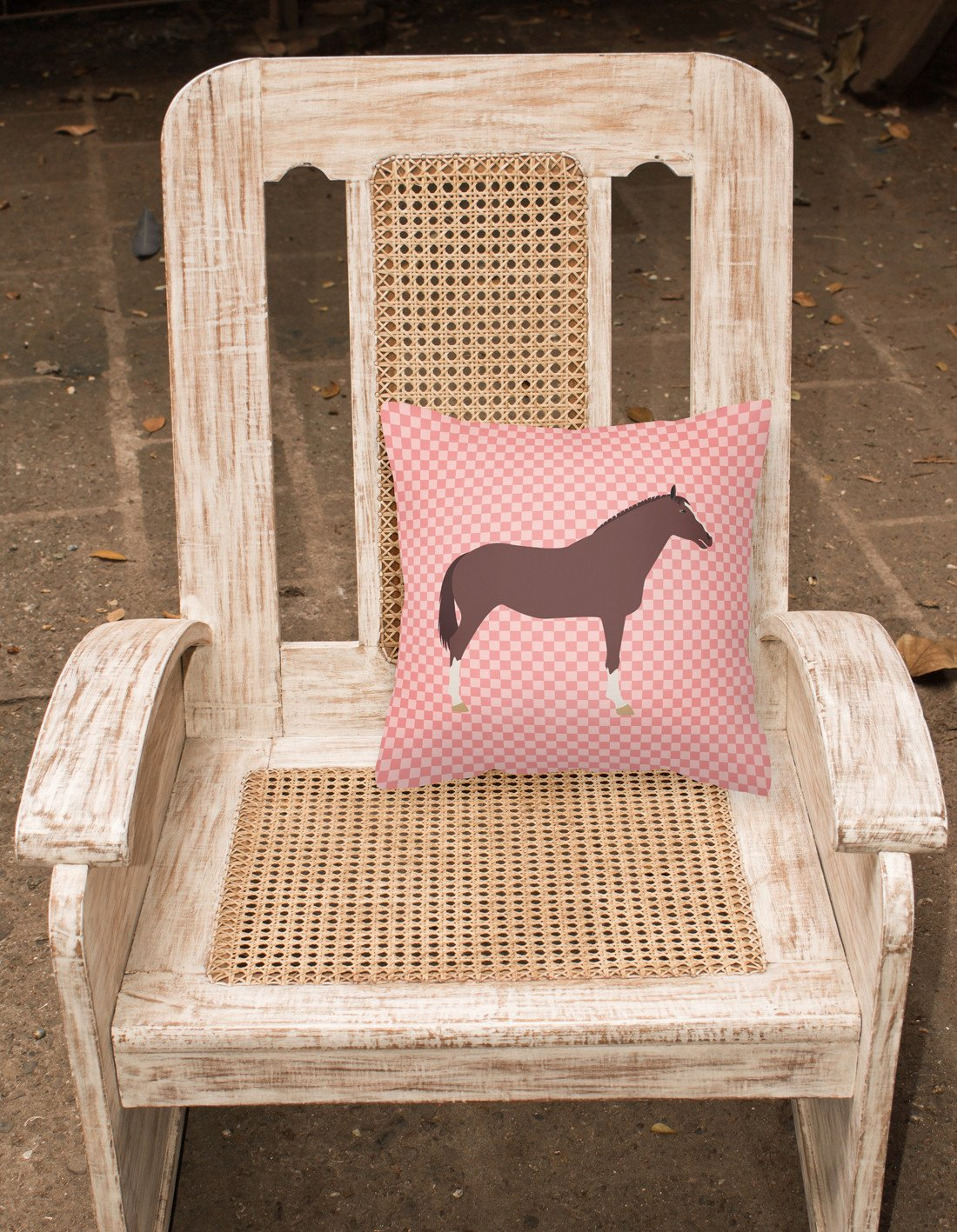 English Thoroughbred Horse Pink Check Fabric Decorative Pillow BB7913PW1818 by Caroline's Treasures