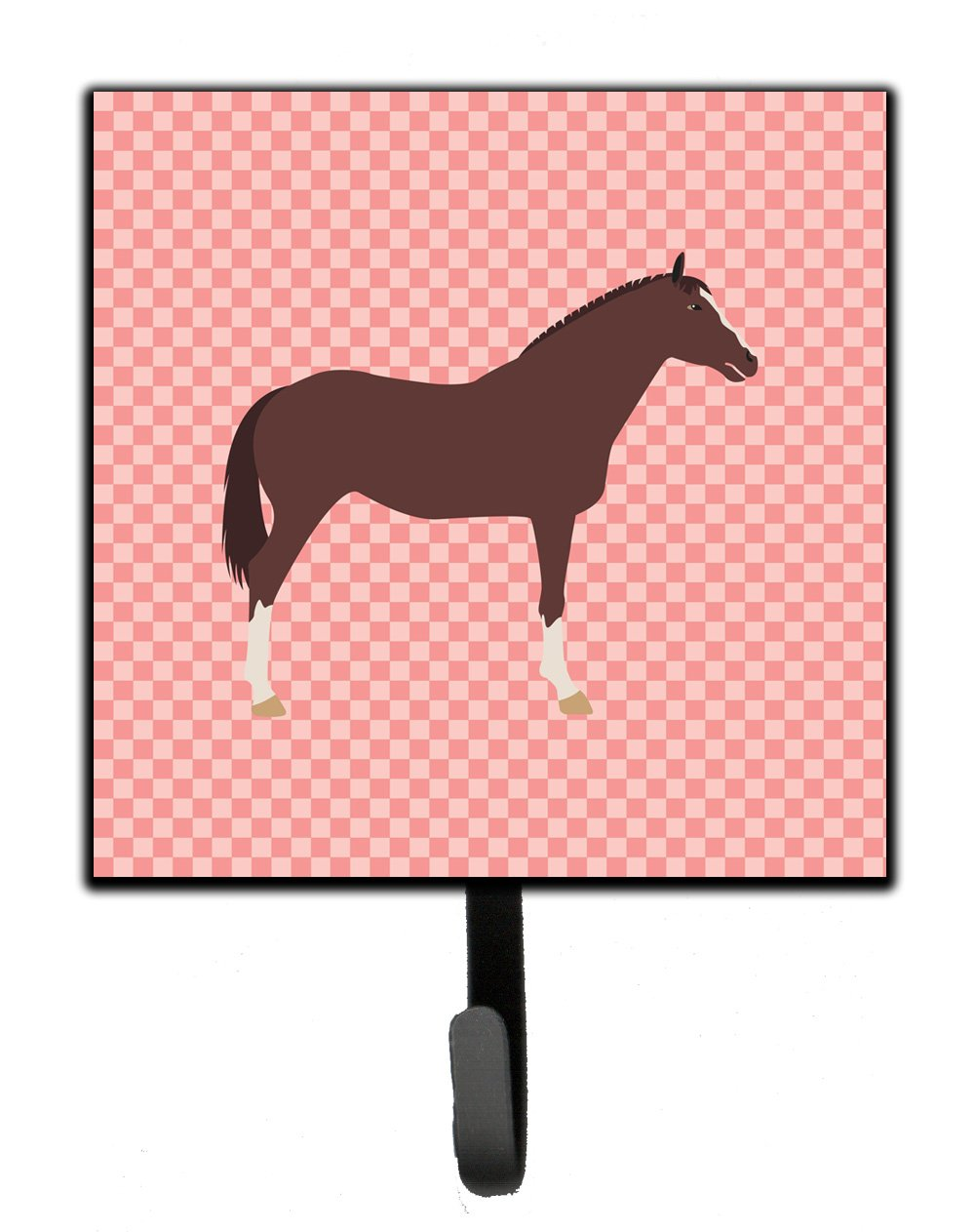 English Thoroughbred Horse Pink Check Leash or Key Holder by Caroline's Treasures