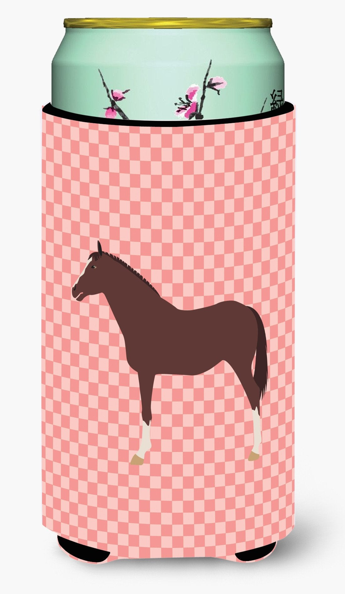 English Thoroughbred Horse Pink Check Tall Boy Beverage Insulator Hugger BB7913TBC by Caroline's Treasures