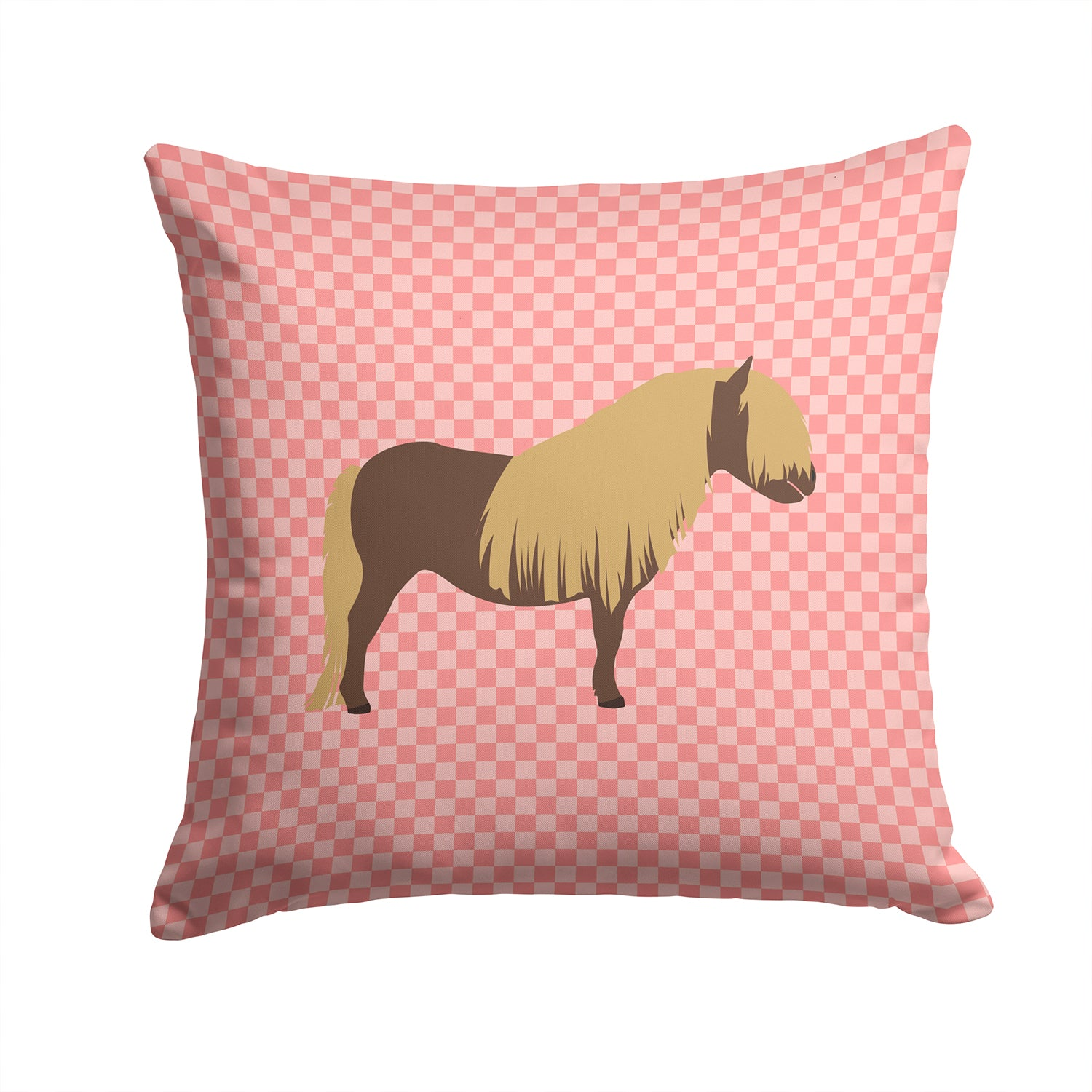 Shetland Pony Horse Pink Check Fabric Decorative Pillow BB7914PW1414 by Caroline's Treasures