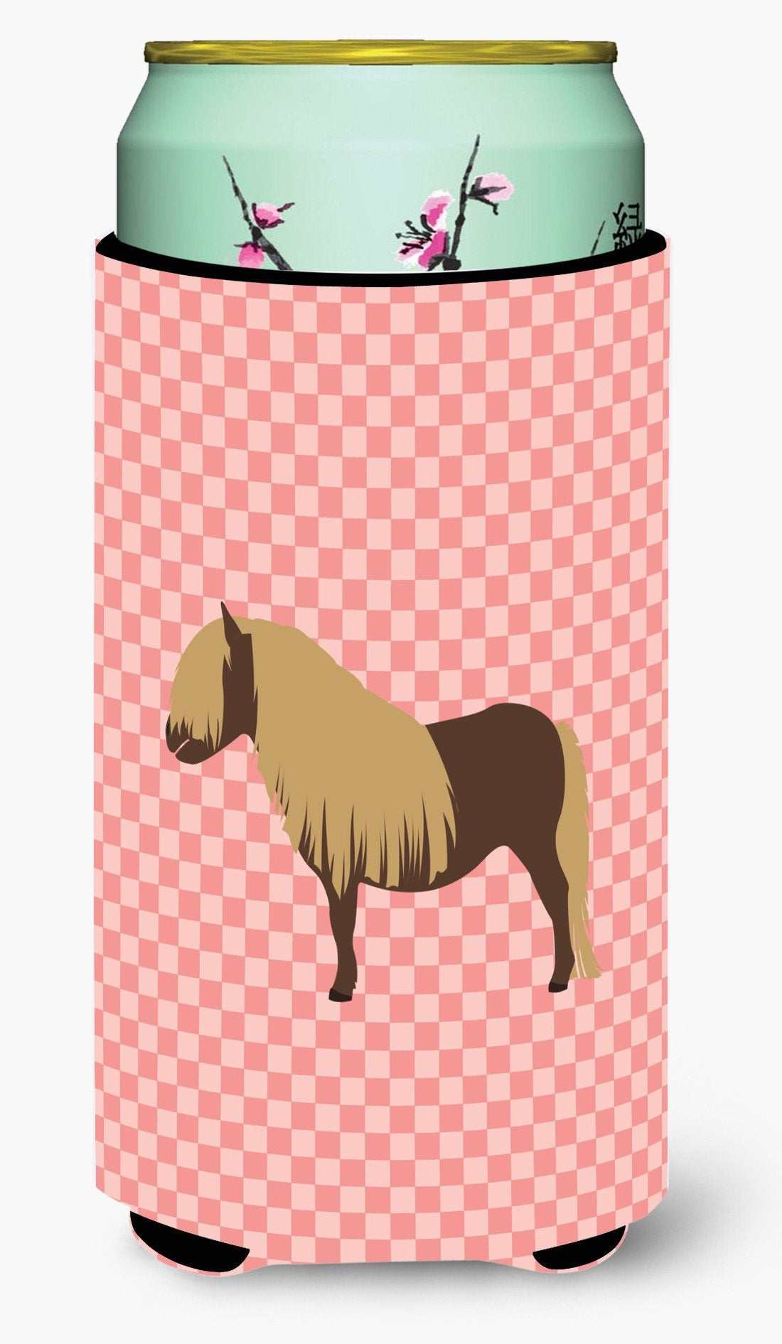Shetland Pony Horse Pink Check Tall Boy Beverage Insulator Hugger BB7914TBC by Caroline's Treasures