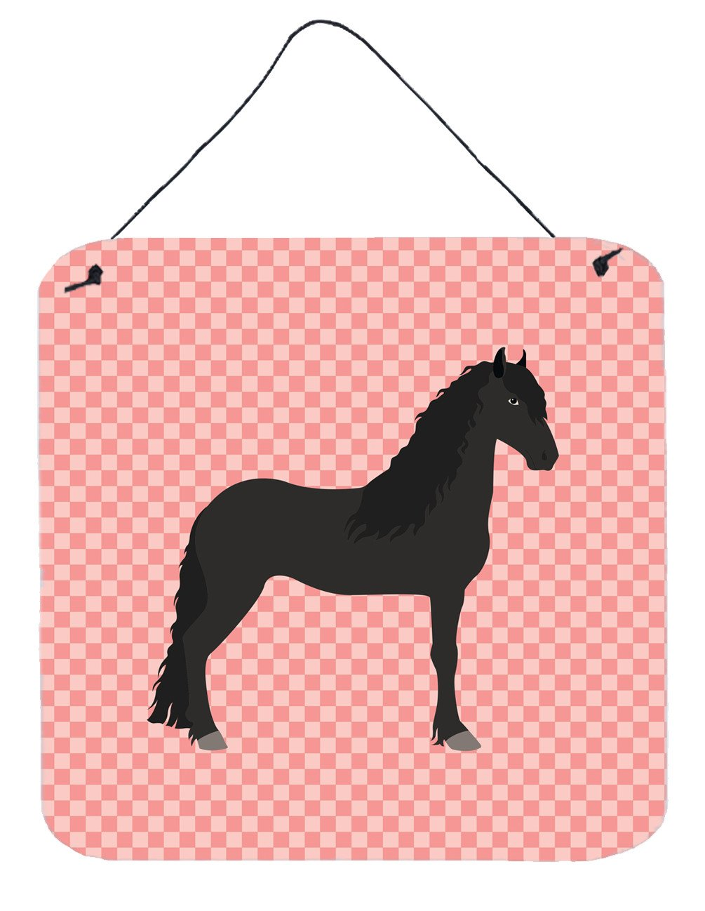 Friesian Horse Pink Check Wall or Door Hanging Prints BB7915DS66 by Caroline's Treasures