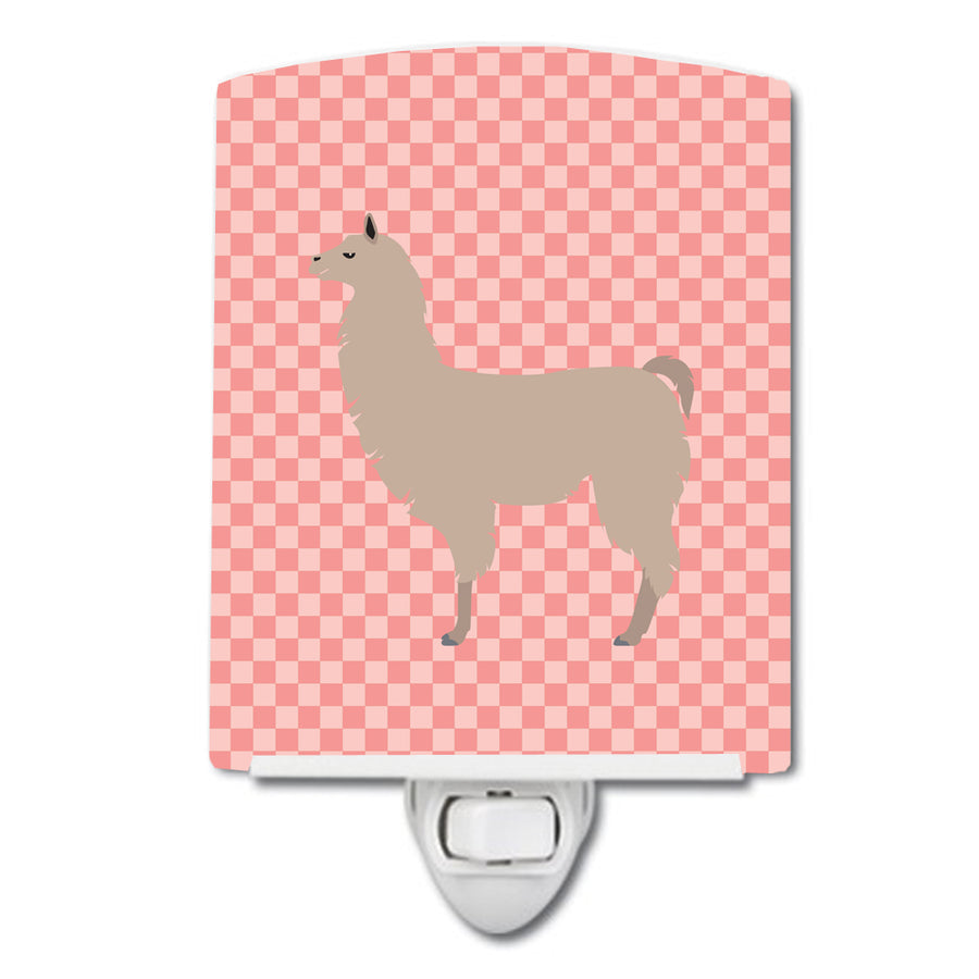Buy this Llama Pink Check Ceramic Night Light BB7916CNL