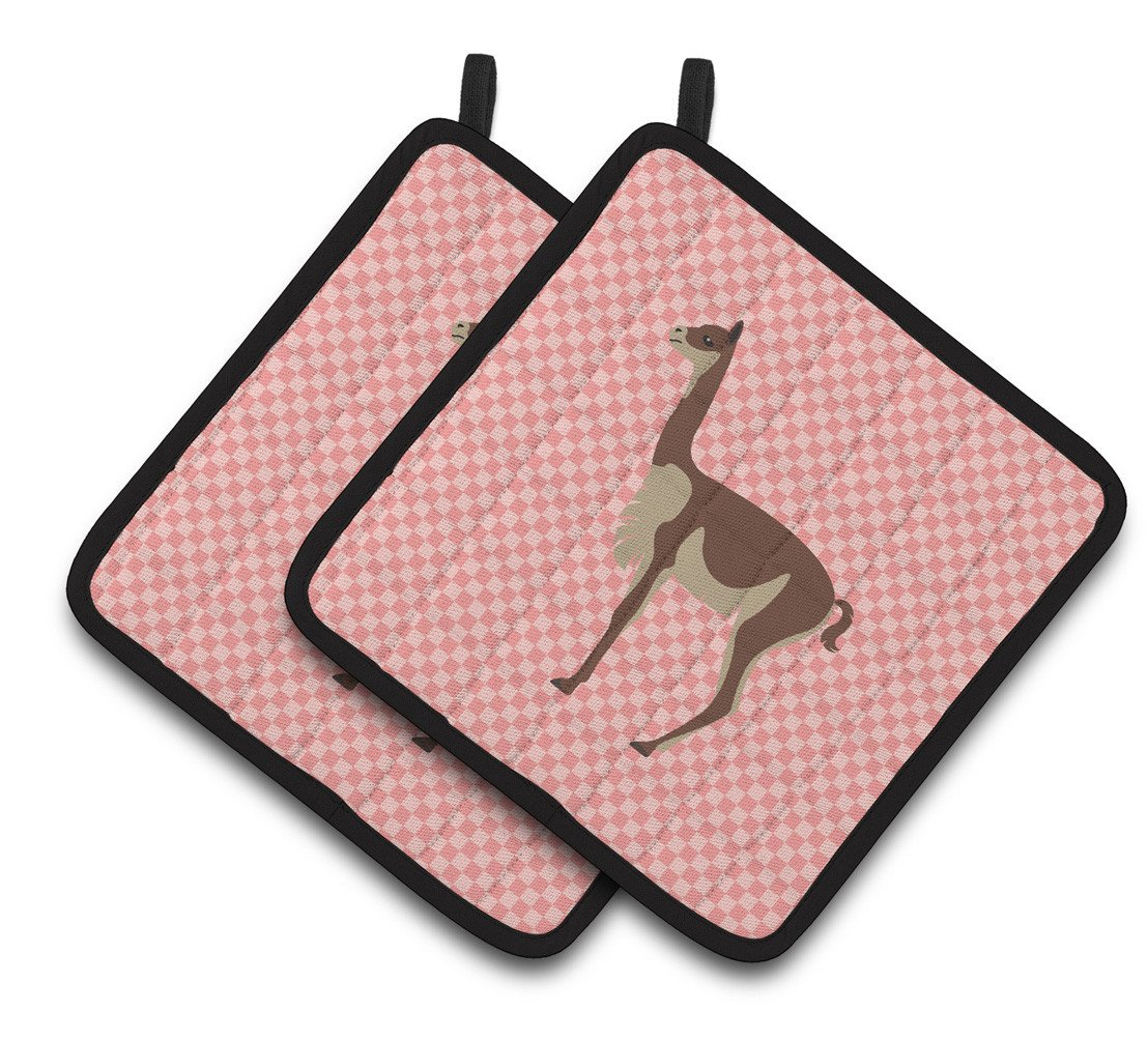 Vicugna or Vicuna Pink Check Pair of Pot Holders BB7917PTHD by Caroline's Treasures