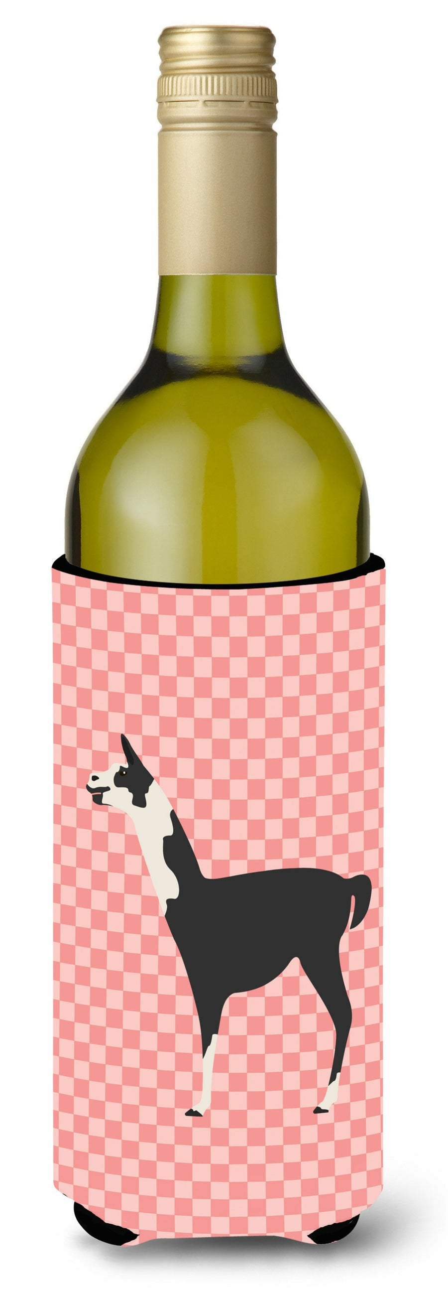 Buy this Llama Q' Ara Pink Check Wine Bottle Beverge Insulator Hugger BB7918LITERK