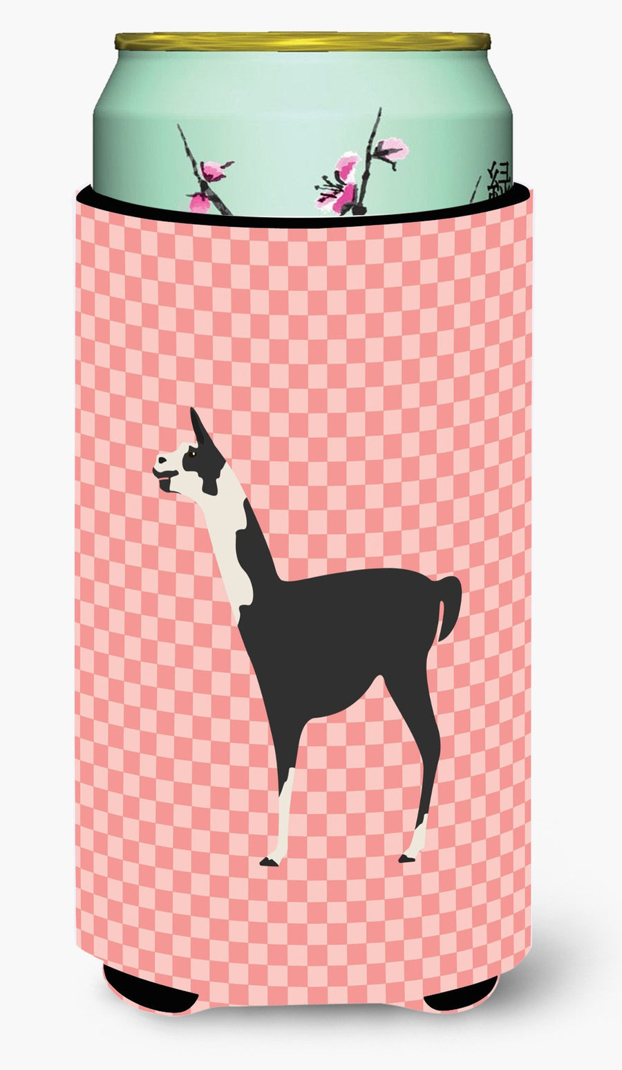 Buy this Llama Q' Ara Pink Check Tall Boy Beverage Insulator Hugger BB7918TBC