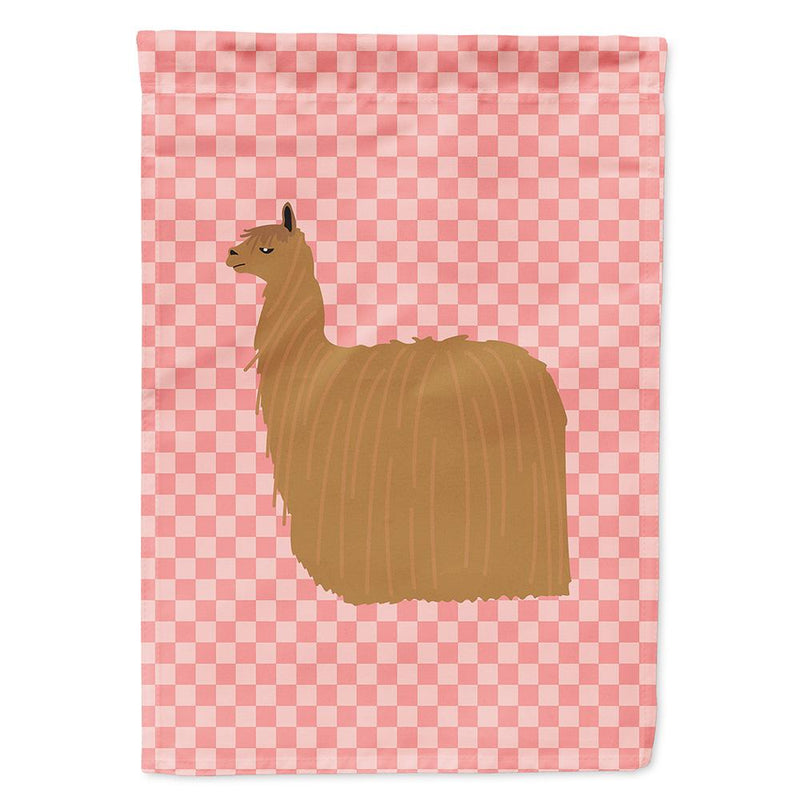 Buy this Alpaca Suri Pink Check Flag Garden Size