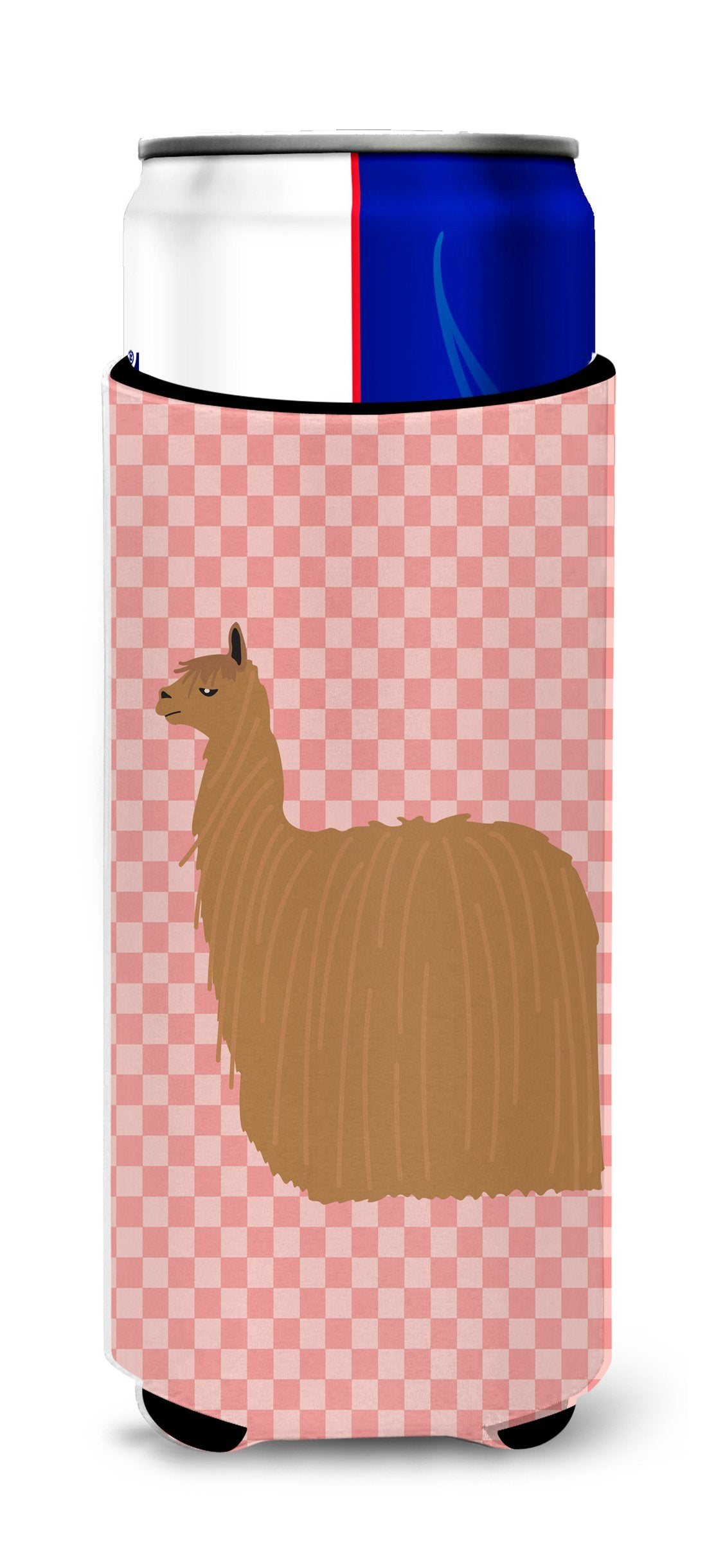 Buy this Alpaca Suri Pink Check Michelob Ultra Hugger for slim cans