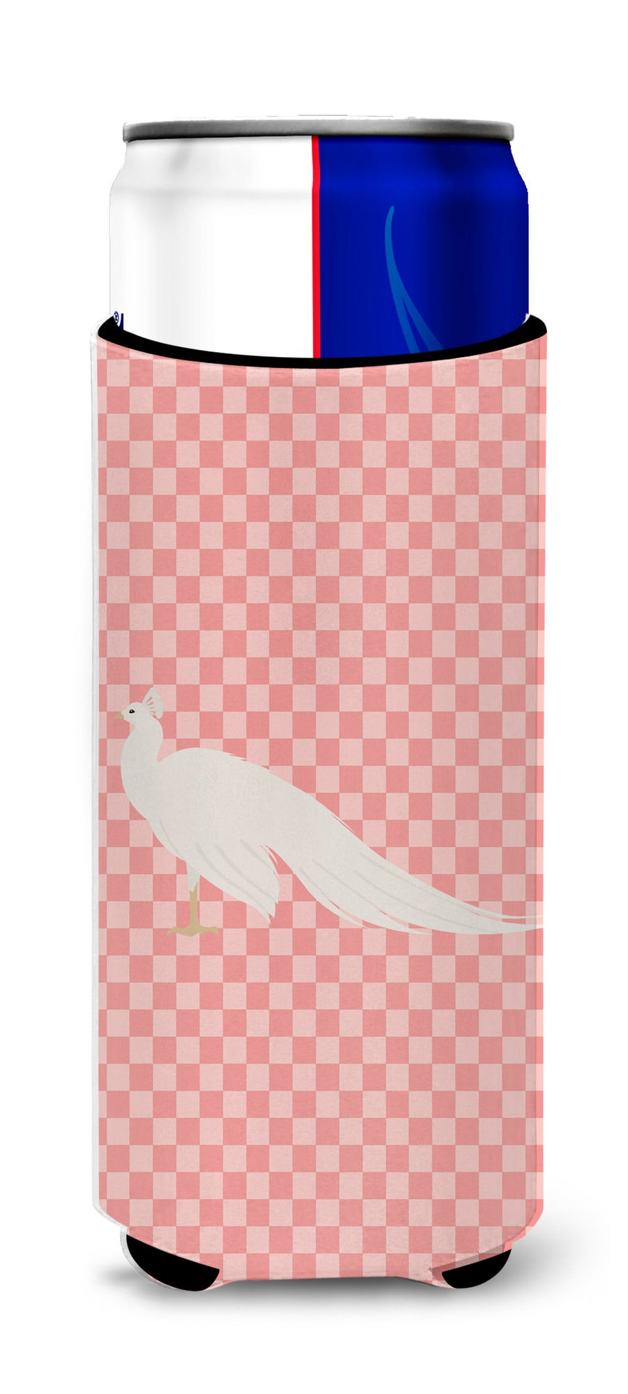 Buy this White Peacock Peafowl Pink Check Michelob Ultra Hugger for slim cans