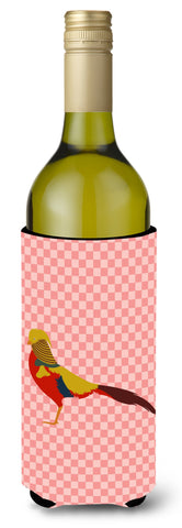 Buy this Golden or Chinese Pheasant Pink Check Wine Bottle Beverge Insulator Hugger BB7928LITERK