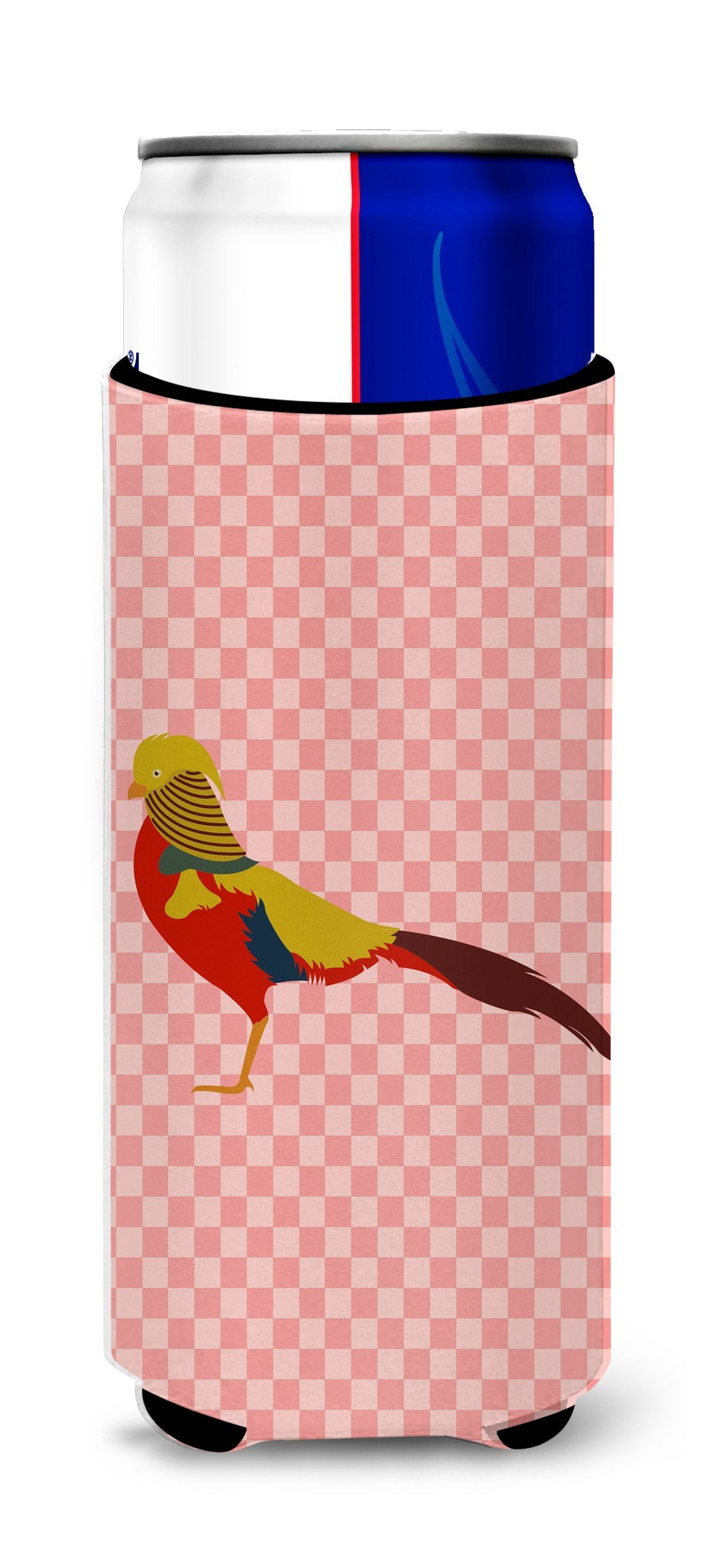 Buy this Golden or Chinese Pheasant Pink Check Michelob Ultra Hugger for slim cans