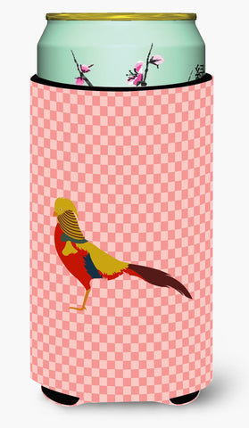 Buy this Golden or Chinese Pheasant Pink Check Tall Boy Beverage Insulator Hugger BB7928TBC