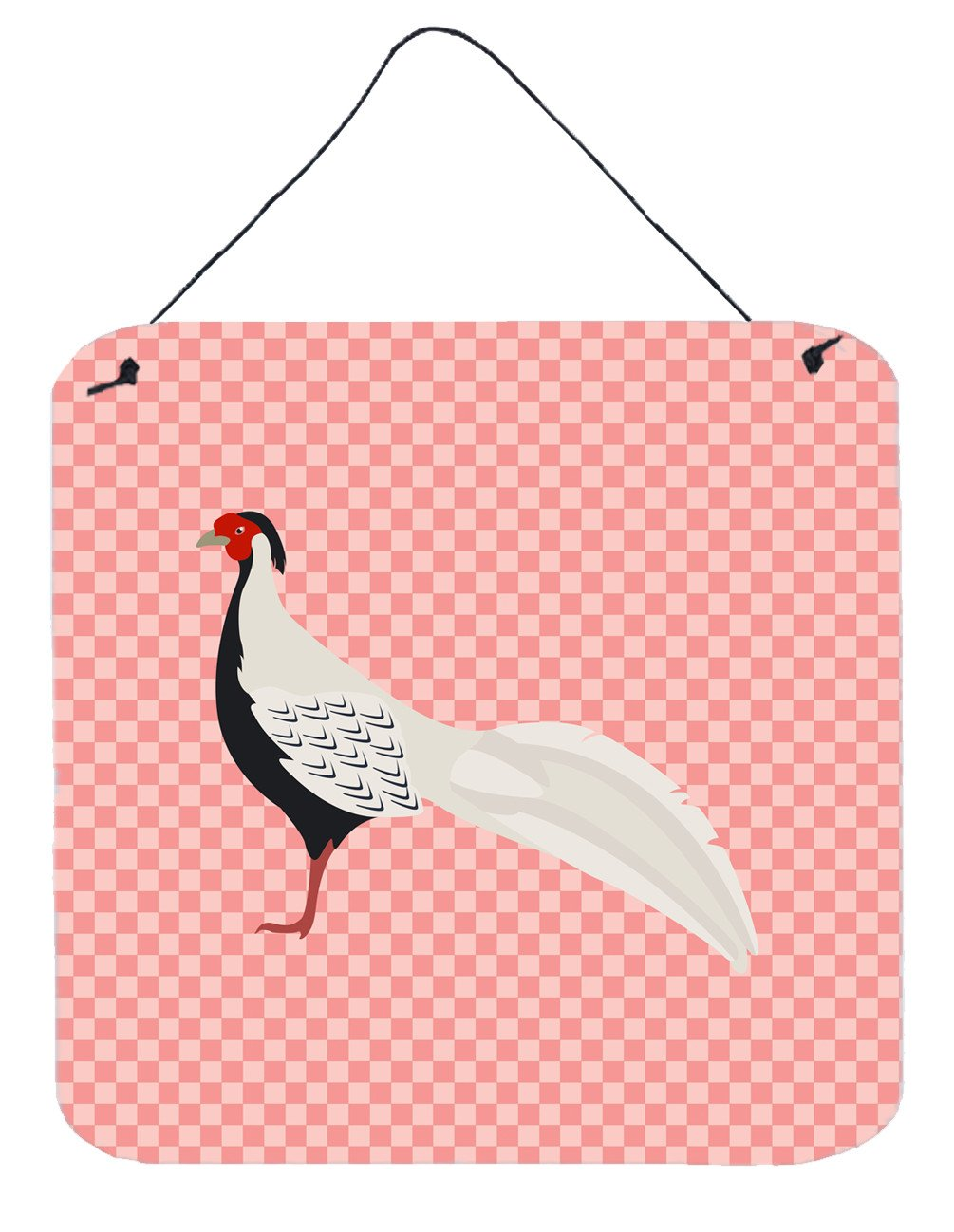 Silver Pheasant Pink Check Wall or Door Hanging Prints BB7929DS66 by Caroline's Treasures