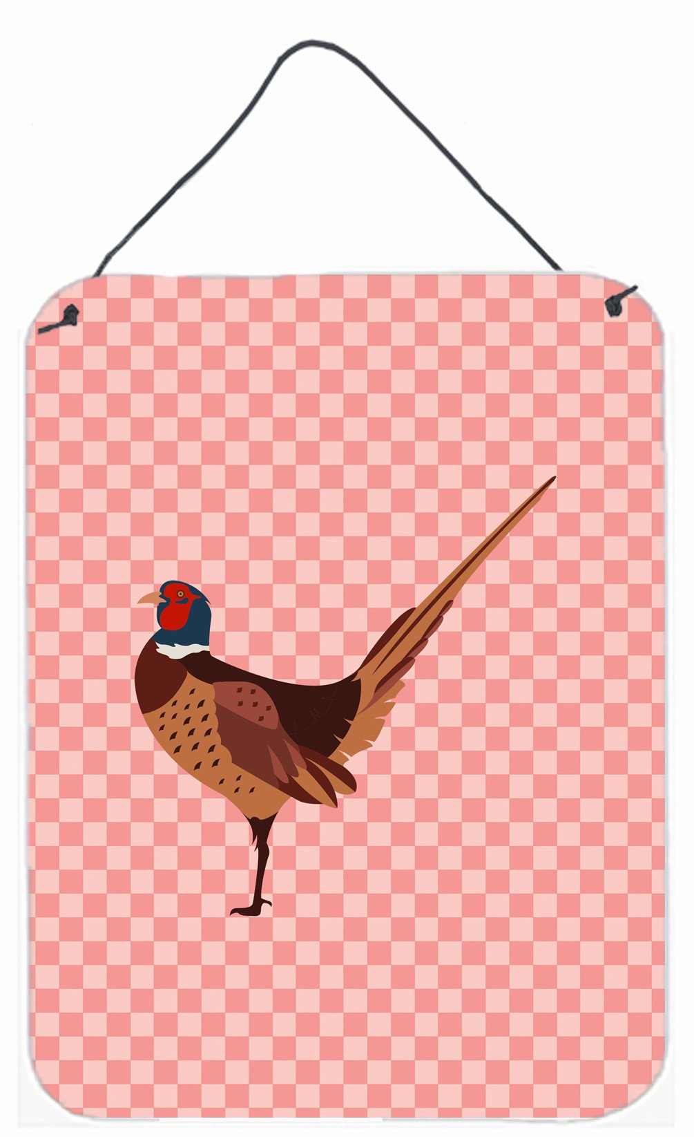 Buy this Ring-necked Common Pheasant Pink Check Wall or Door Hanging Prints BB7930DS1216
