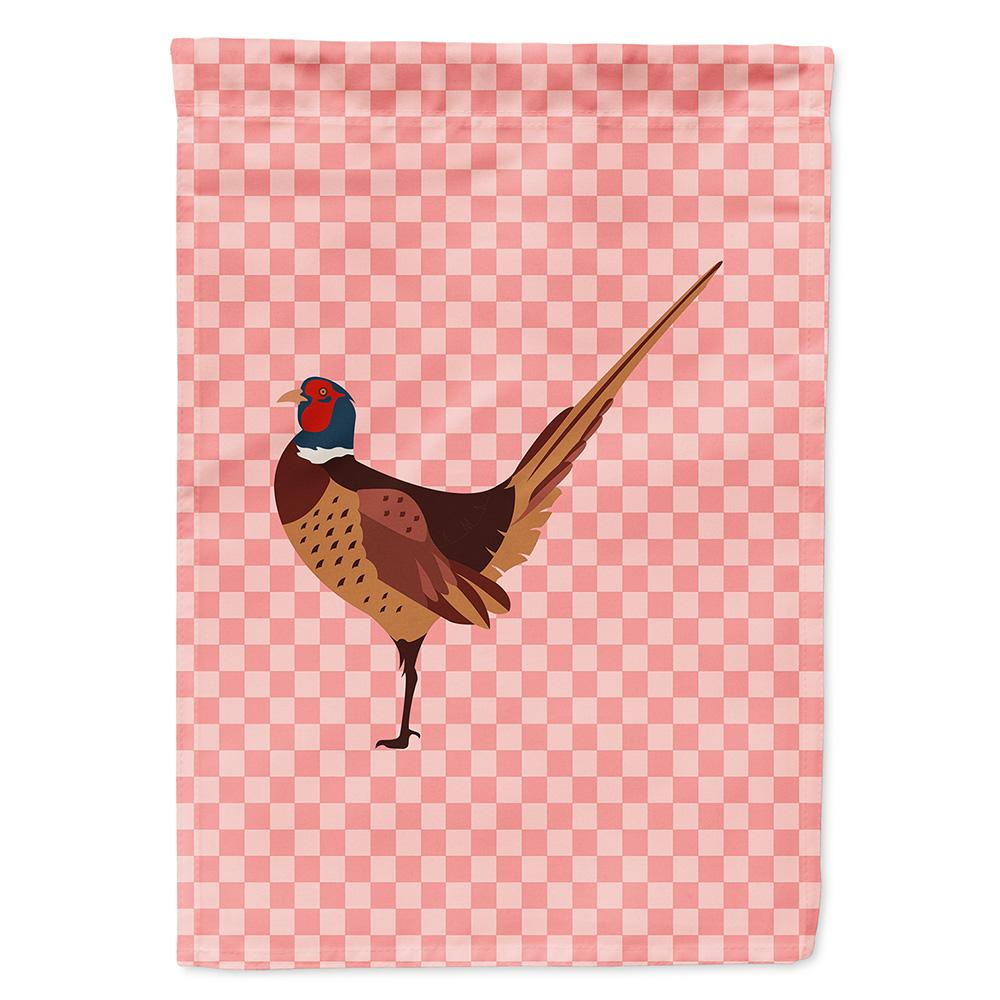 Buy this Ring-necked Common Pheasant Pink Check Flag Garden Size