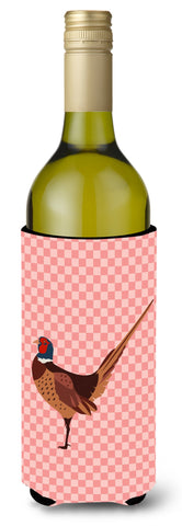 Buy this Ring-necked Common Pheasant Pink Check Wine Bottle Beverge Insulator Hugger BB7930LITERK