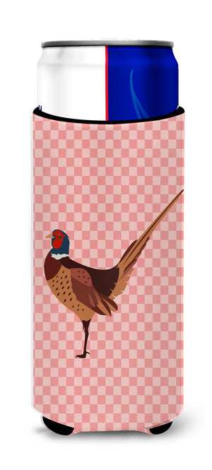 Buy this Ring-necked Common Pheasant Pink Check Michelob Ultra Hugger for slim cans