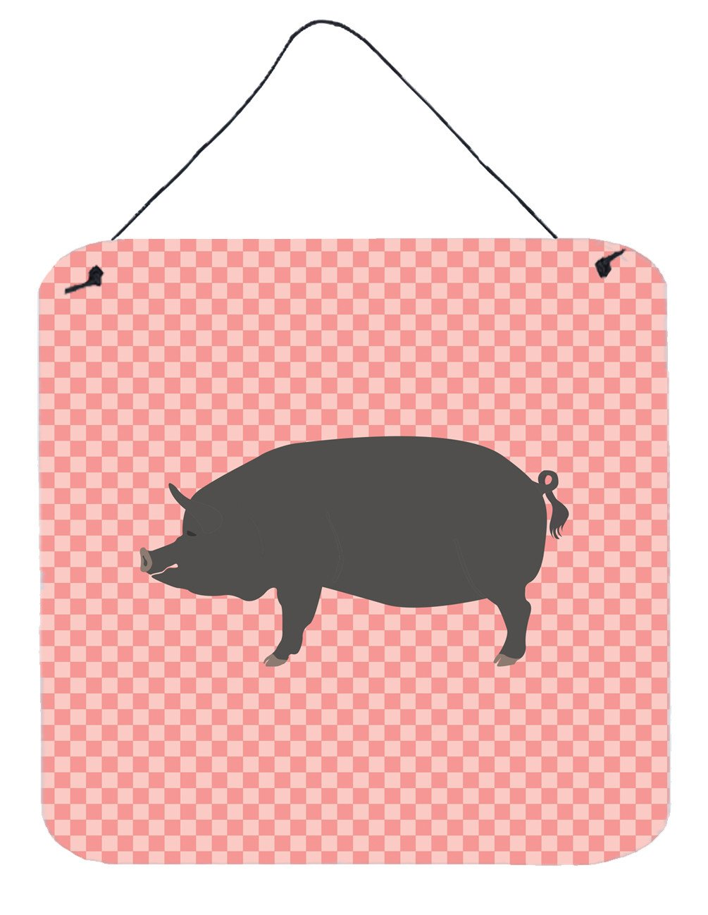 Berkshire Pig Pink Check Wall or Door Hanging Prints BB7933DS66 by Caroline's Treasures