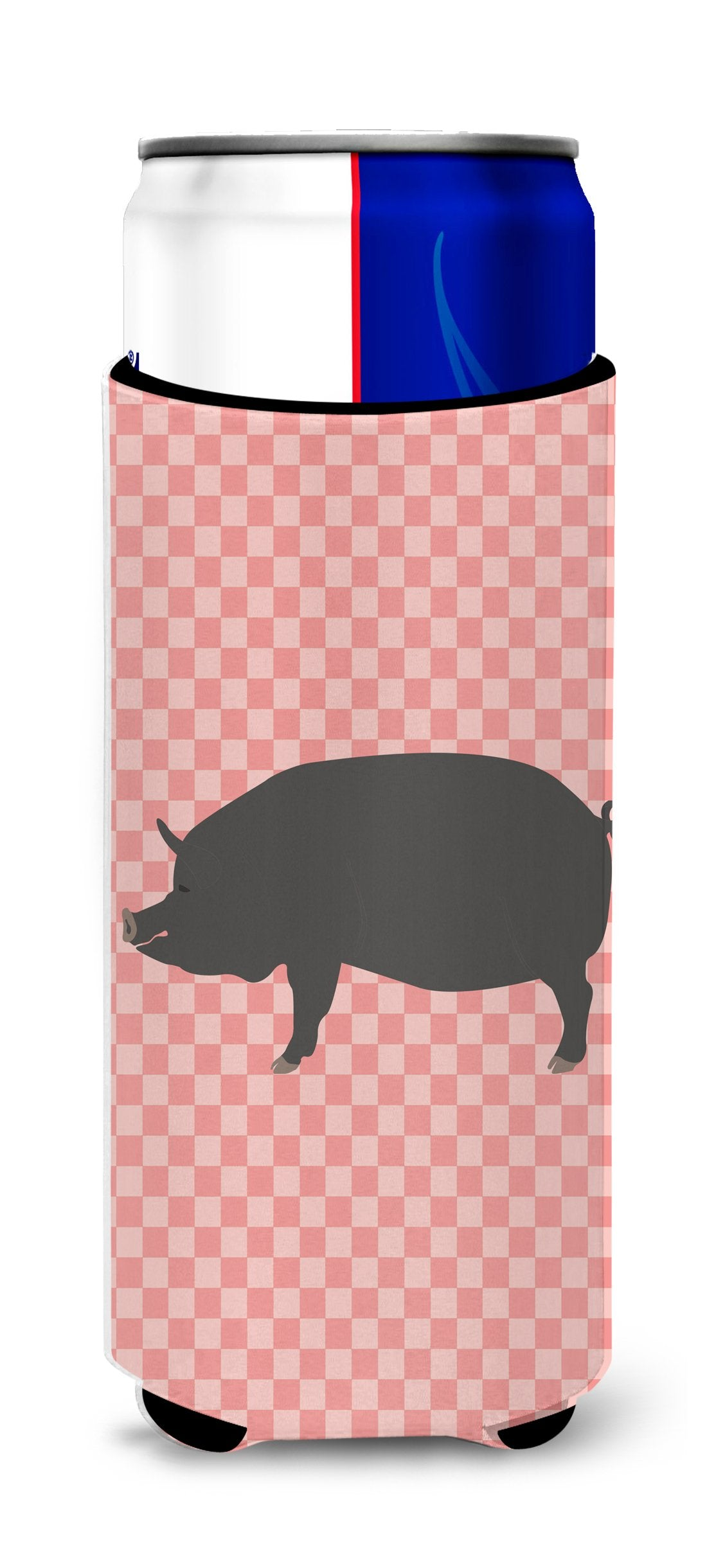 Berkshire Pig Pink Check Michelob Ultra Hugger for slim cans by Caroline's Treasures