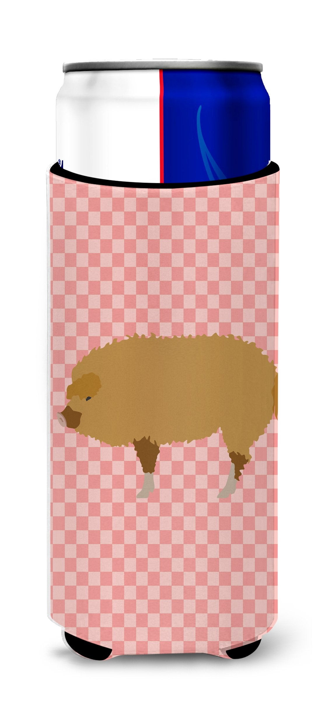 Hungarian Mangalica Pig Pink Check Michelob Ultra Hugger for slim cans by Caroline's Treasures