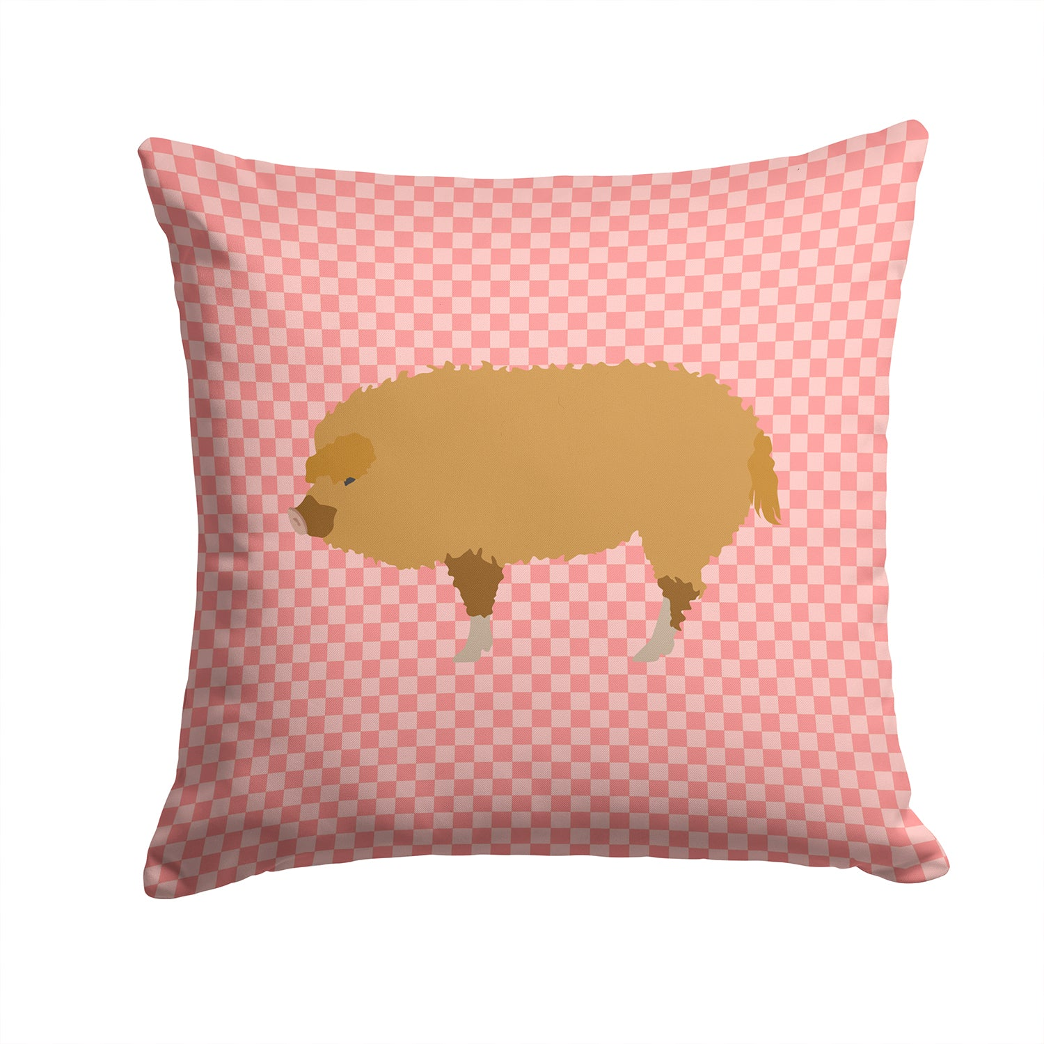 Hungarian Mangalica Pig Pink Check Fabric Decorative Pillow BB7934PW1414 by Caroline's Treasures