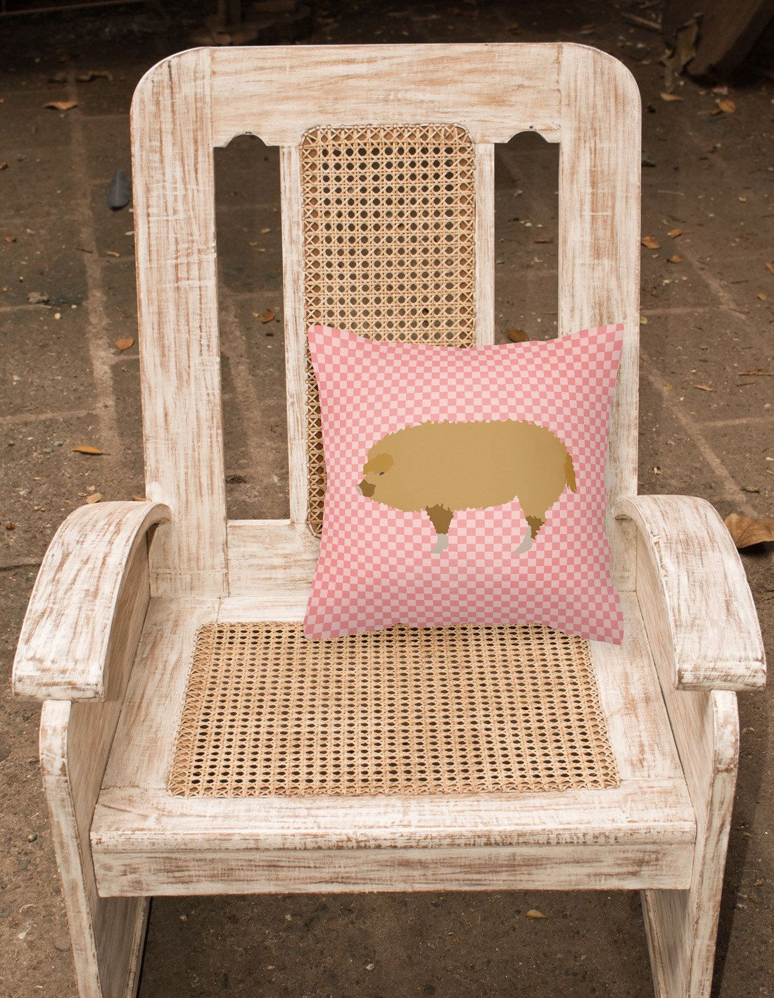 Hungarian Mangalica Pig Pink Check Fabric Decorative Pillow BB7934PW1818 by Caroline's Treasures