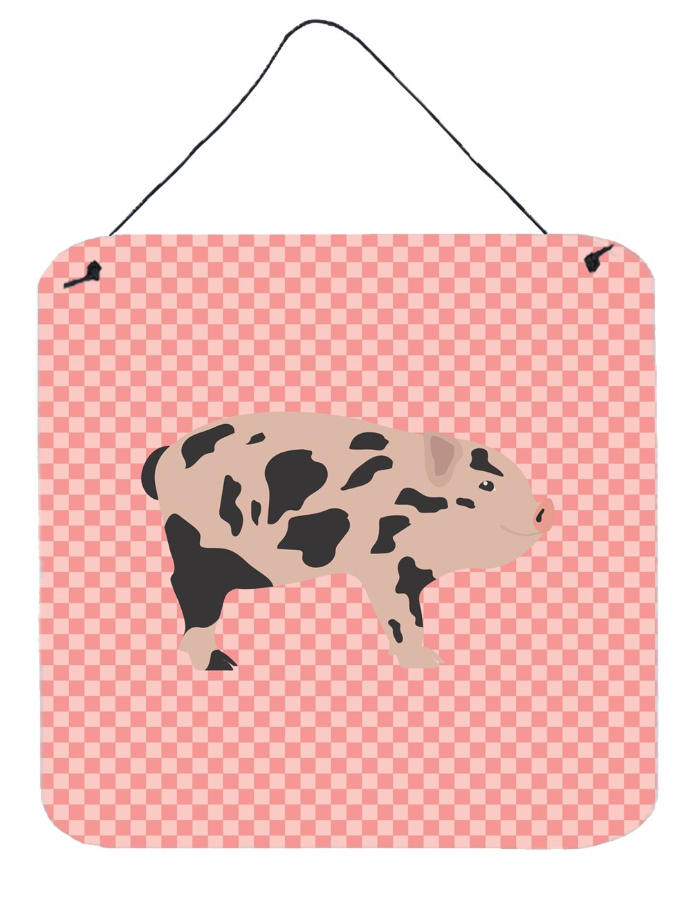 Mini Miniature Pig Pink Check Wall or Door Hanging Prints by Caroline's Treasures